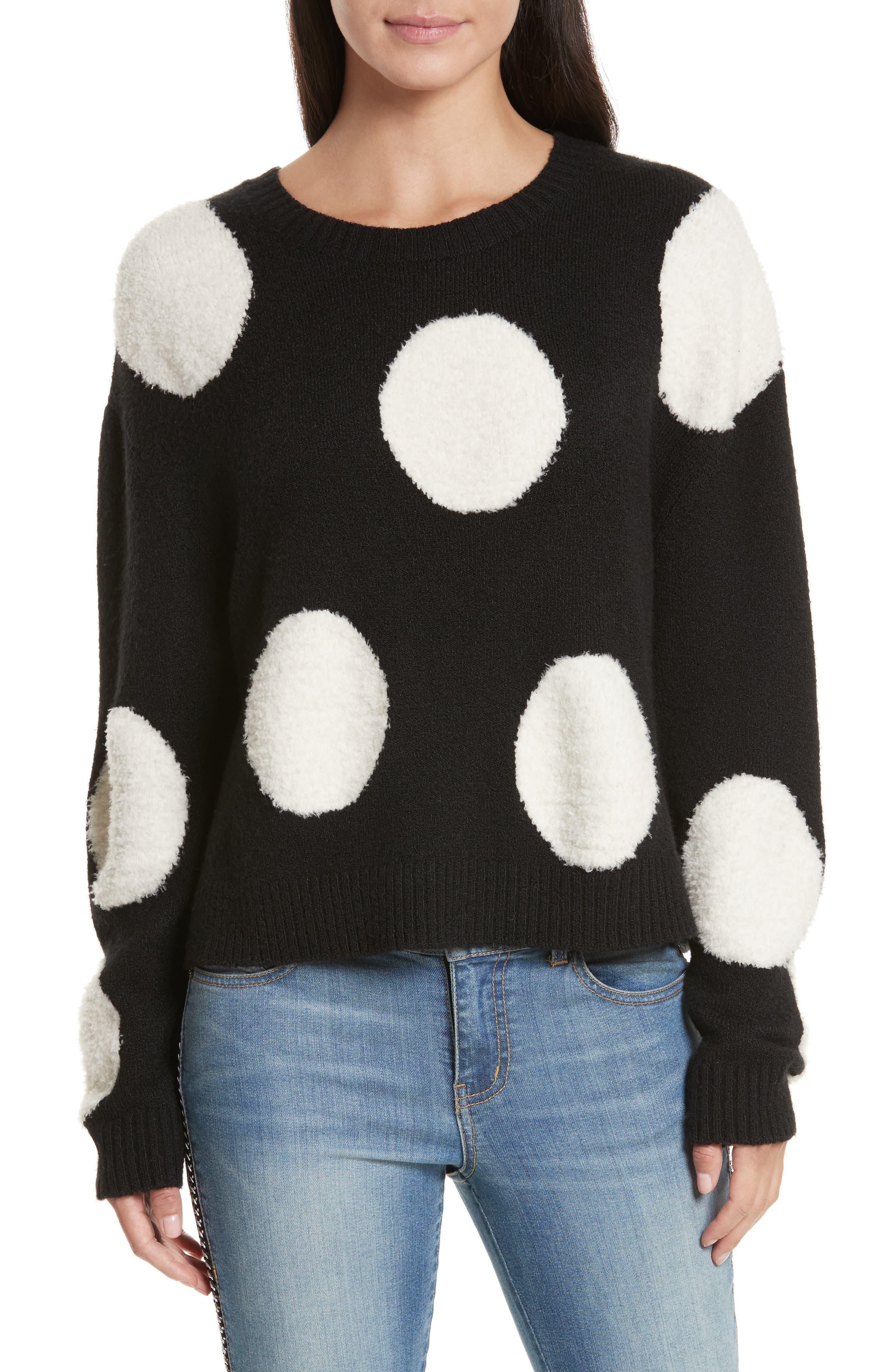 Polka Dot Boxy Sweater,                             Main thumbnail 1, color,                             Black/ White