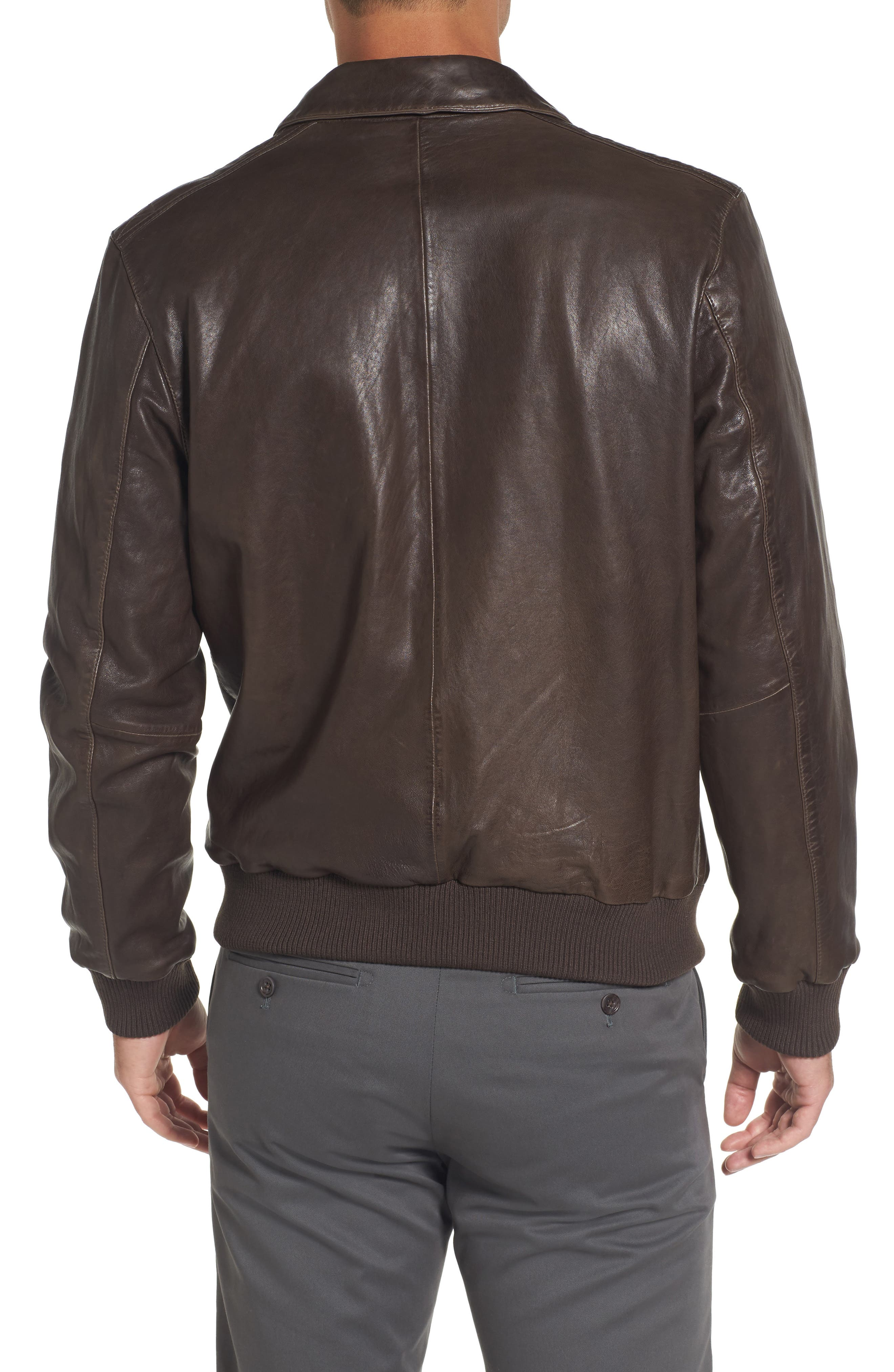 Leather Bomber Jacket,                             Alternate thumbnail 2, color,                             Brown Seal
