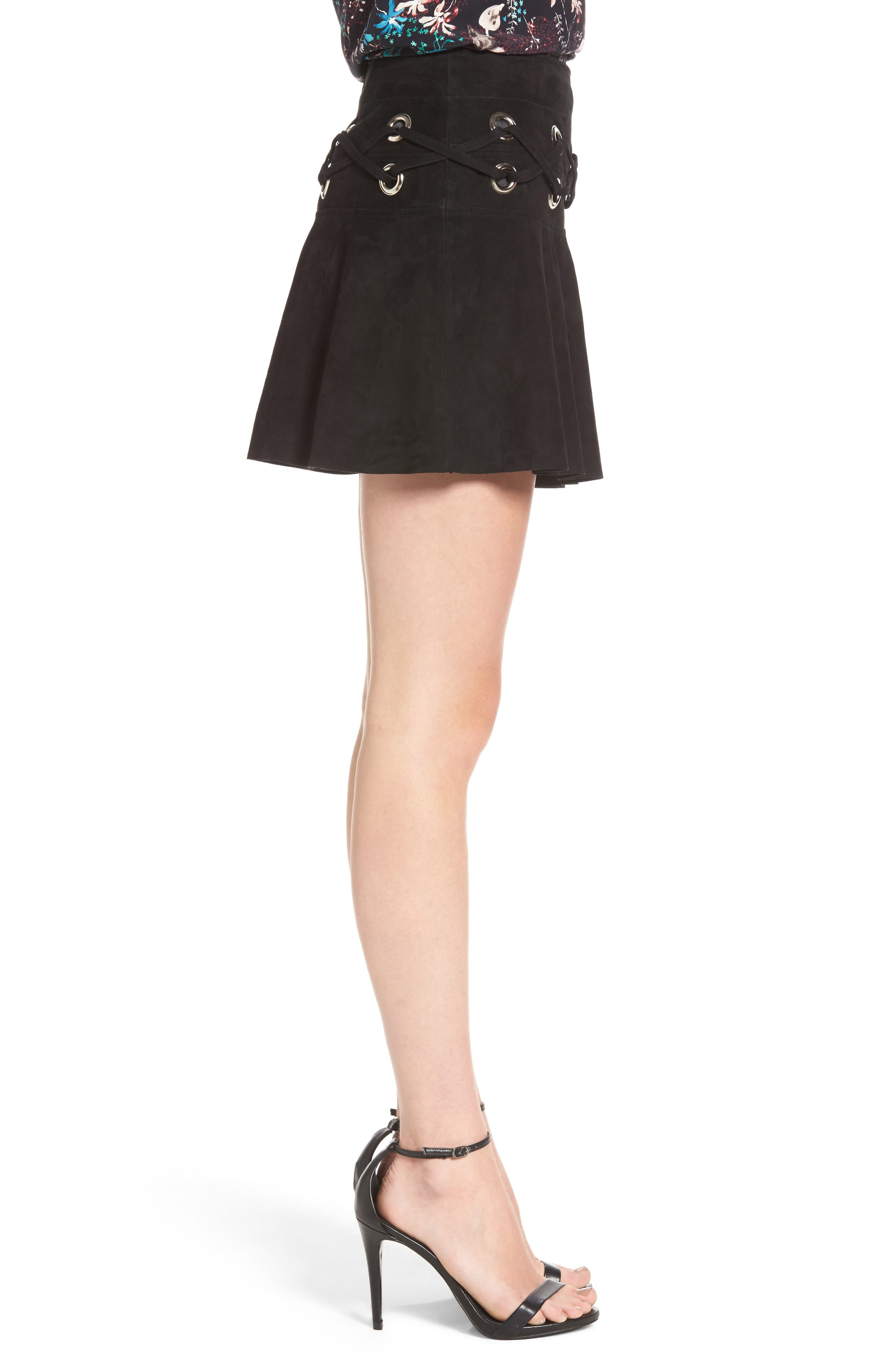 Grommet Suede Miniskirt,                             Alternate thumbnail 3, color,                             Black