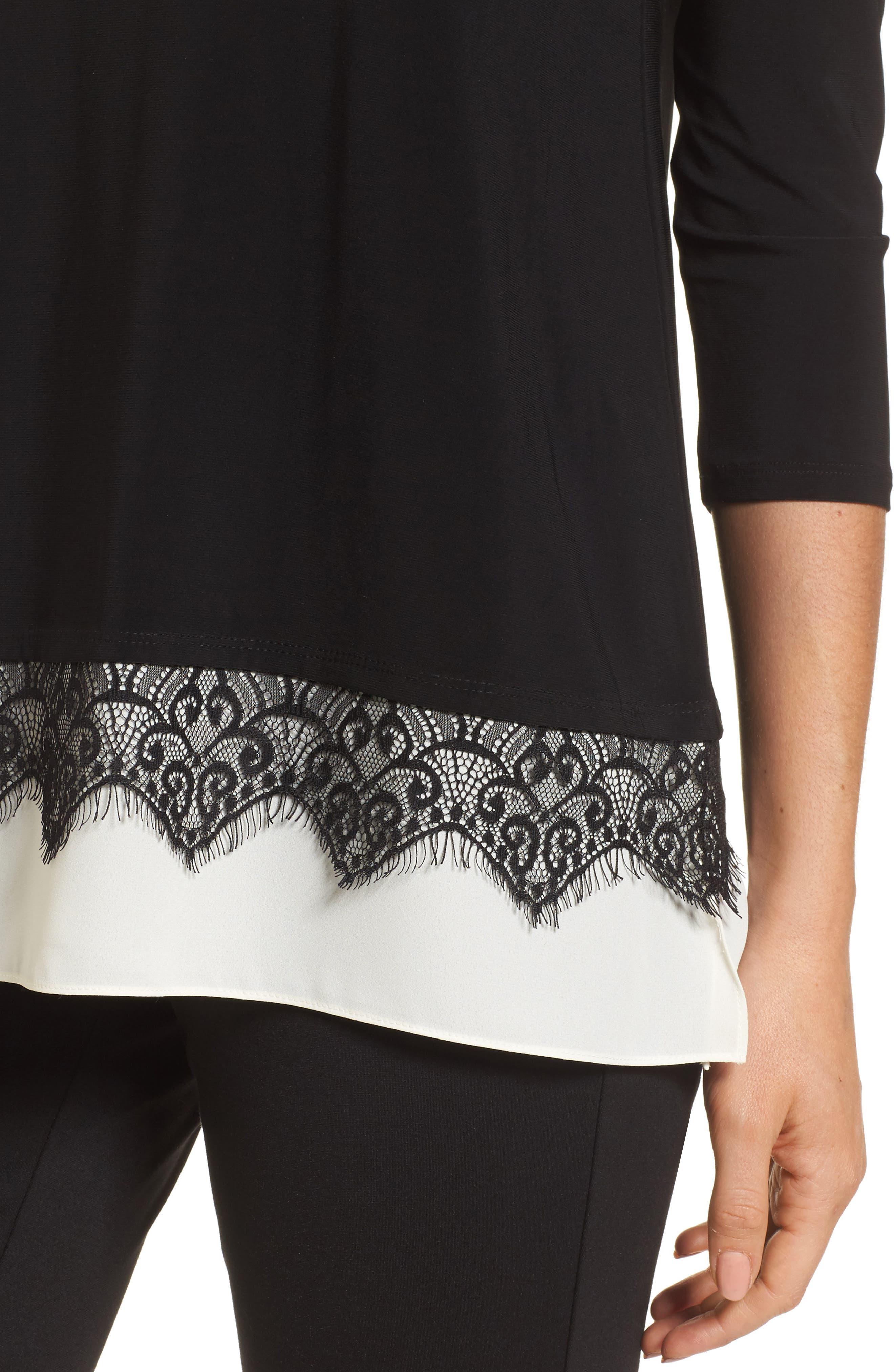 Alternate Image 4  - Chaus Lace Trim Knit Top