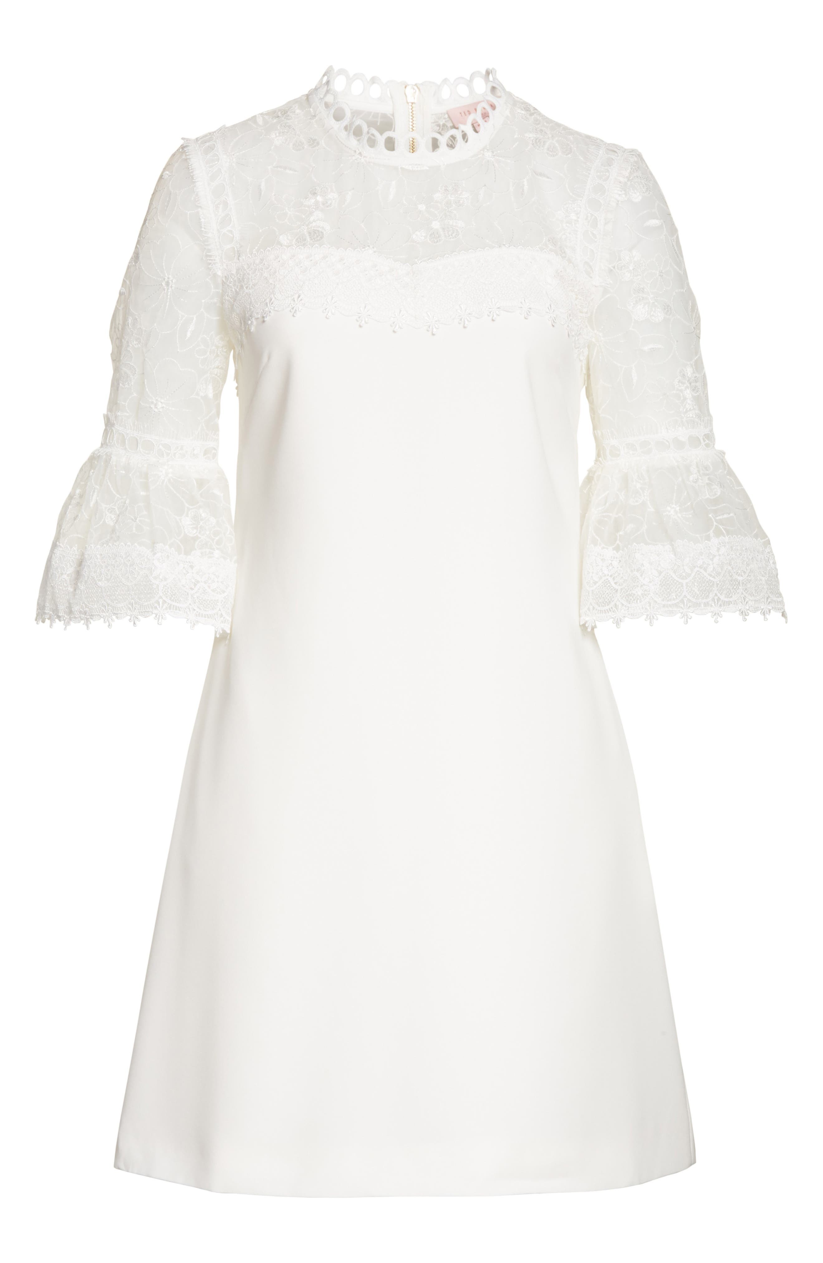 Alternate Image 6  - Ted Baker London Raechal Lace Sleeve A-Line Dress