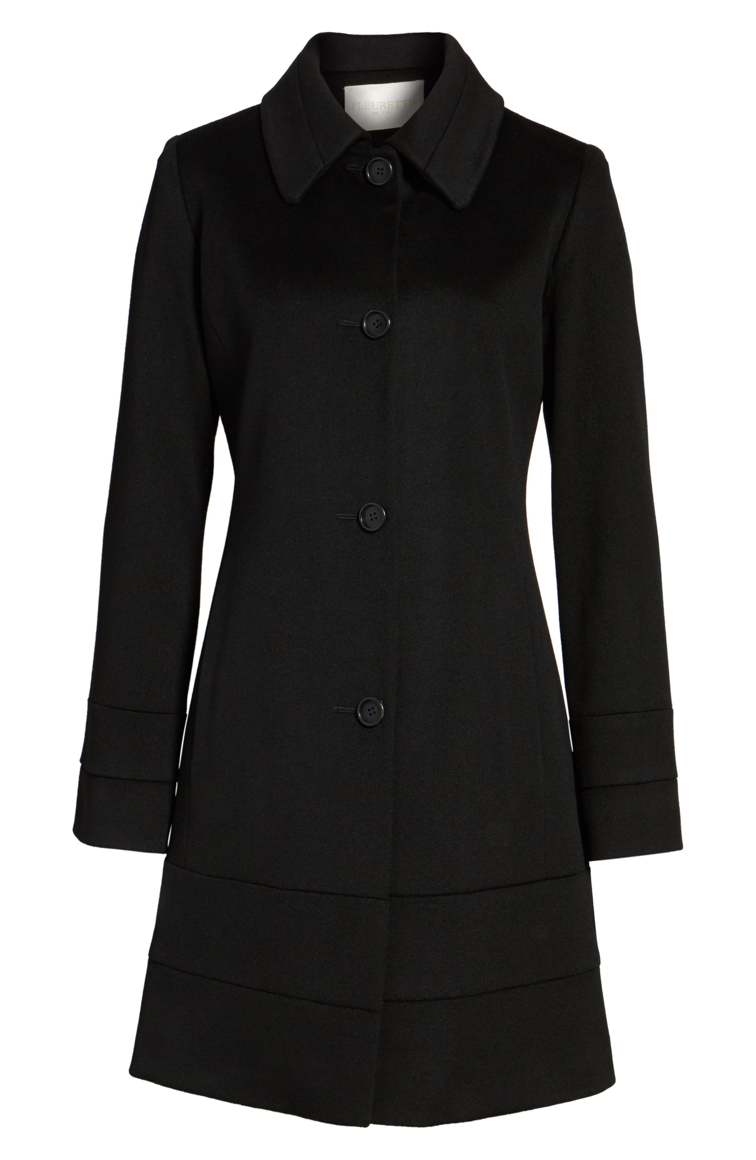 Wool Coat,                             Alternate thumbnail 5, color,                             Black