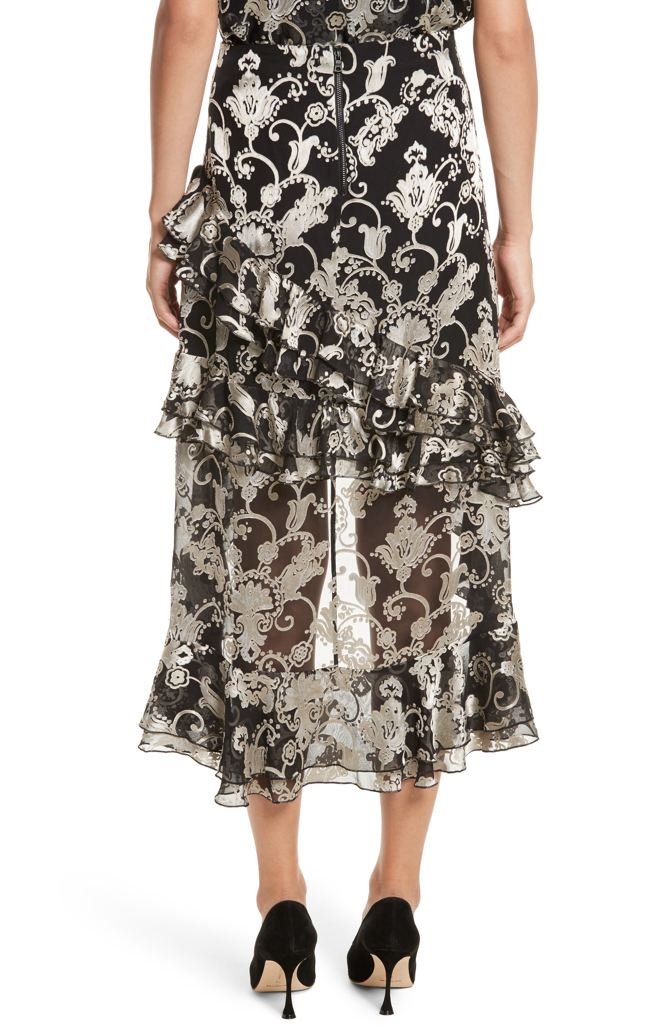 Sasha Asymmetrical Tiered Ruffle Skirt,                             Alternate thumbnail 3, color,                             Black/ White