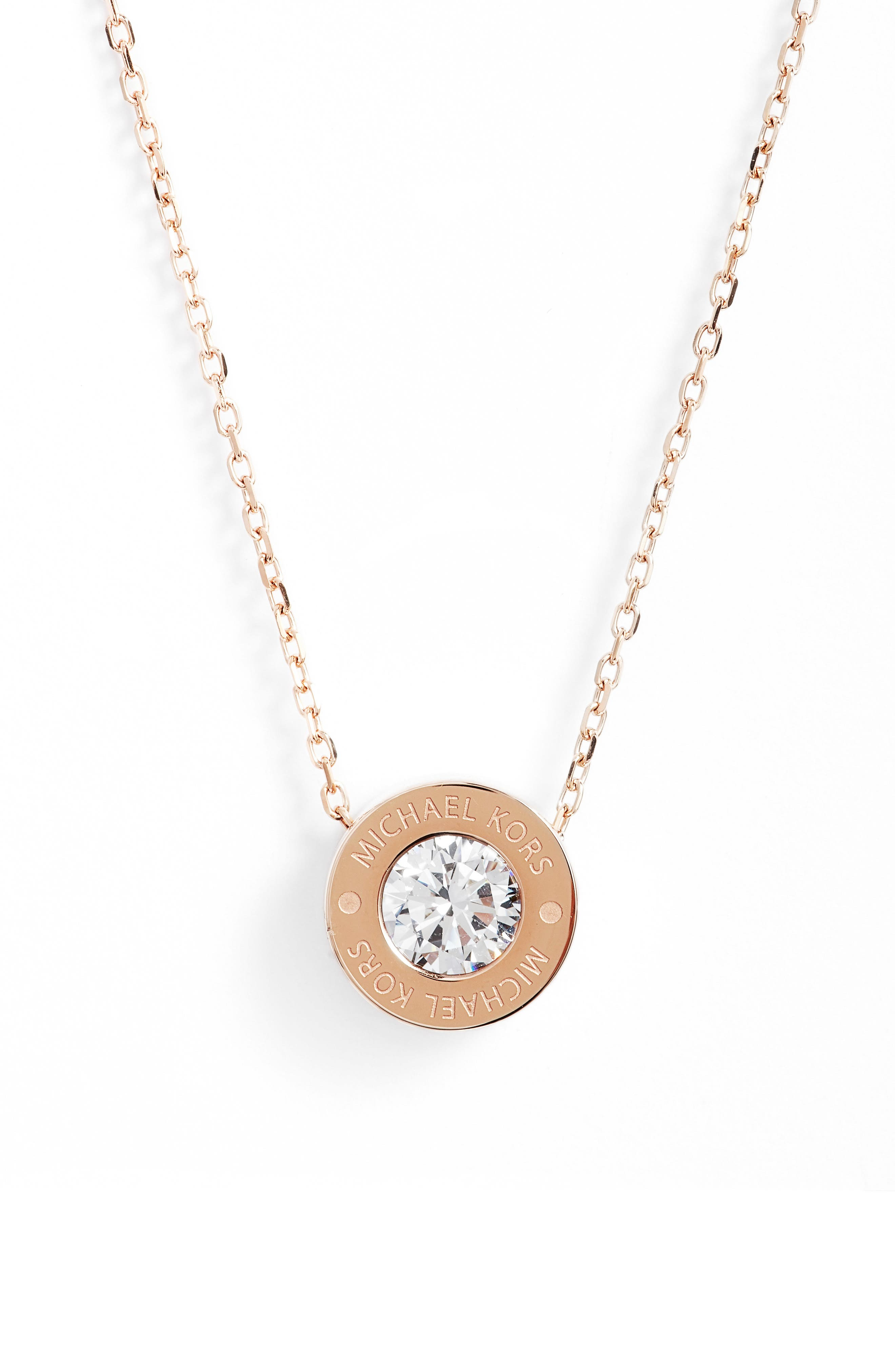 Crystal Pendant Necklace,                             Alternate thumbnail 2, color,                             Rose Gold