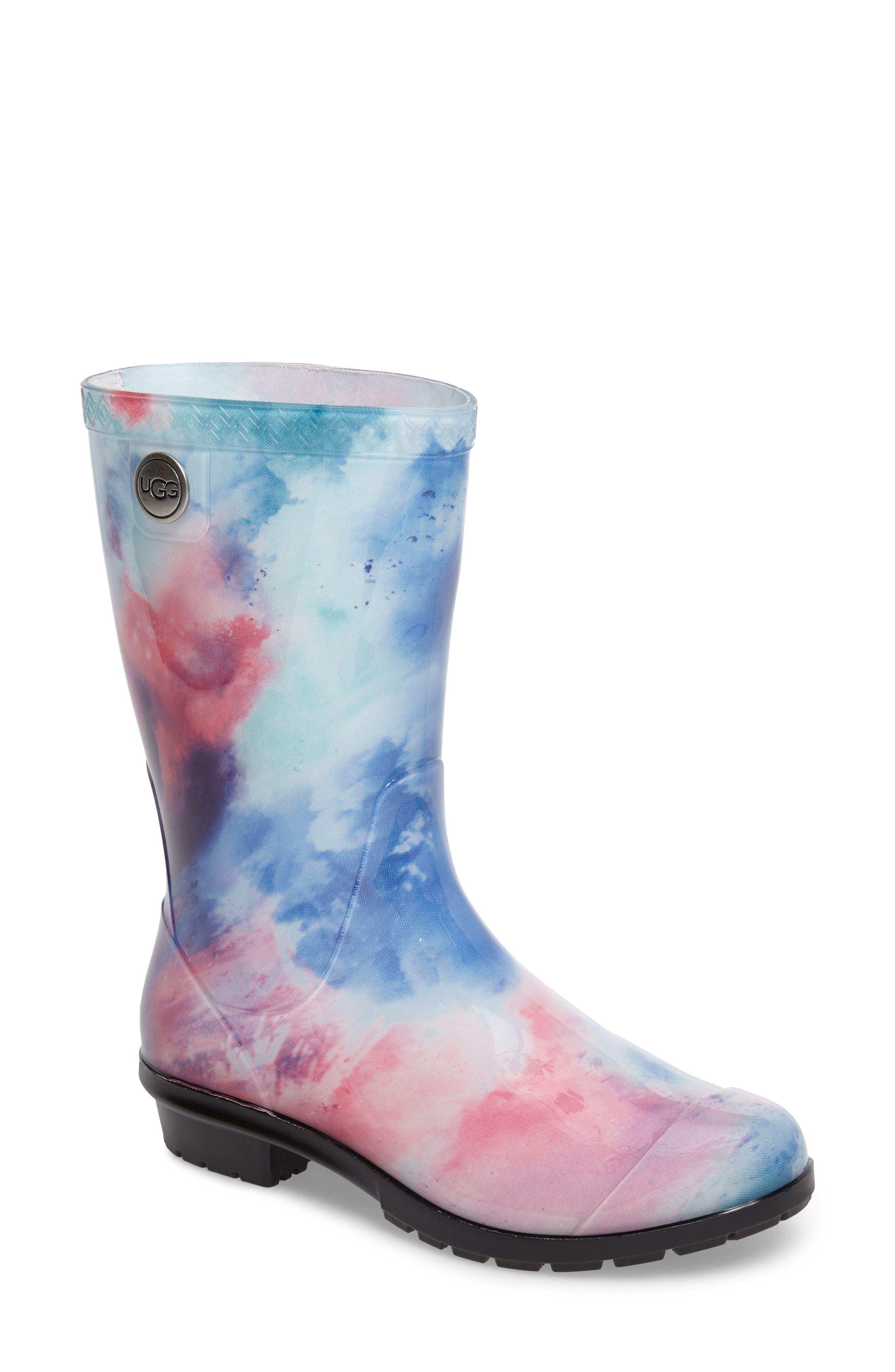 Sienna Watercolor Waterproof Rain Boot,                             Main thumbnail 1, color,                             Wild Rose/ Waterfall