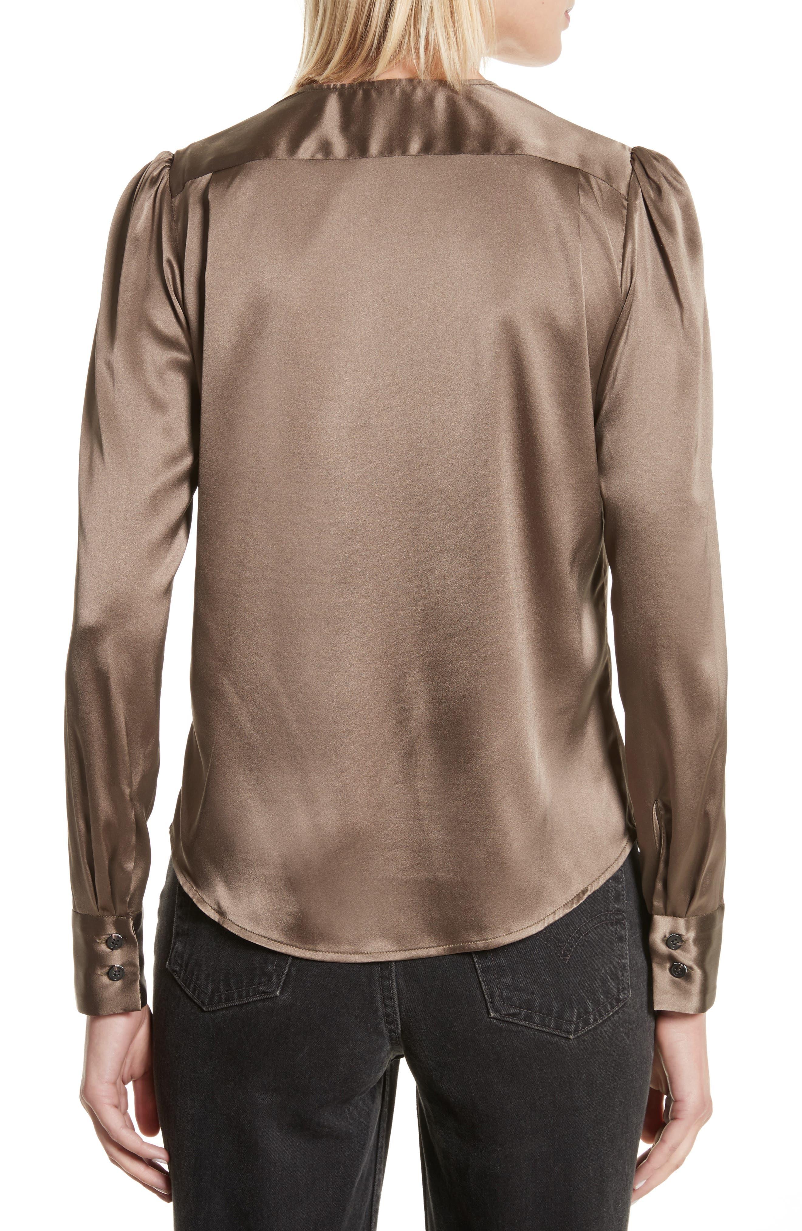 Shield Silk Blouse,                             Alternate thumbnail 2, color,                             Khaki