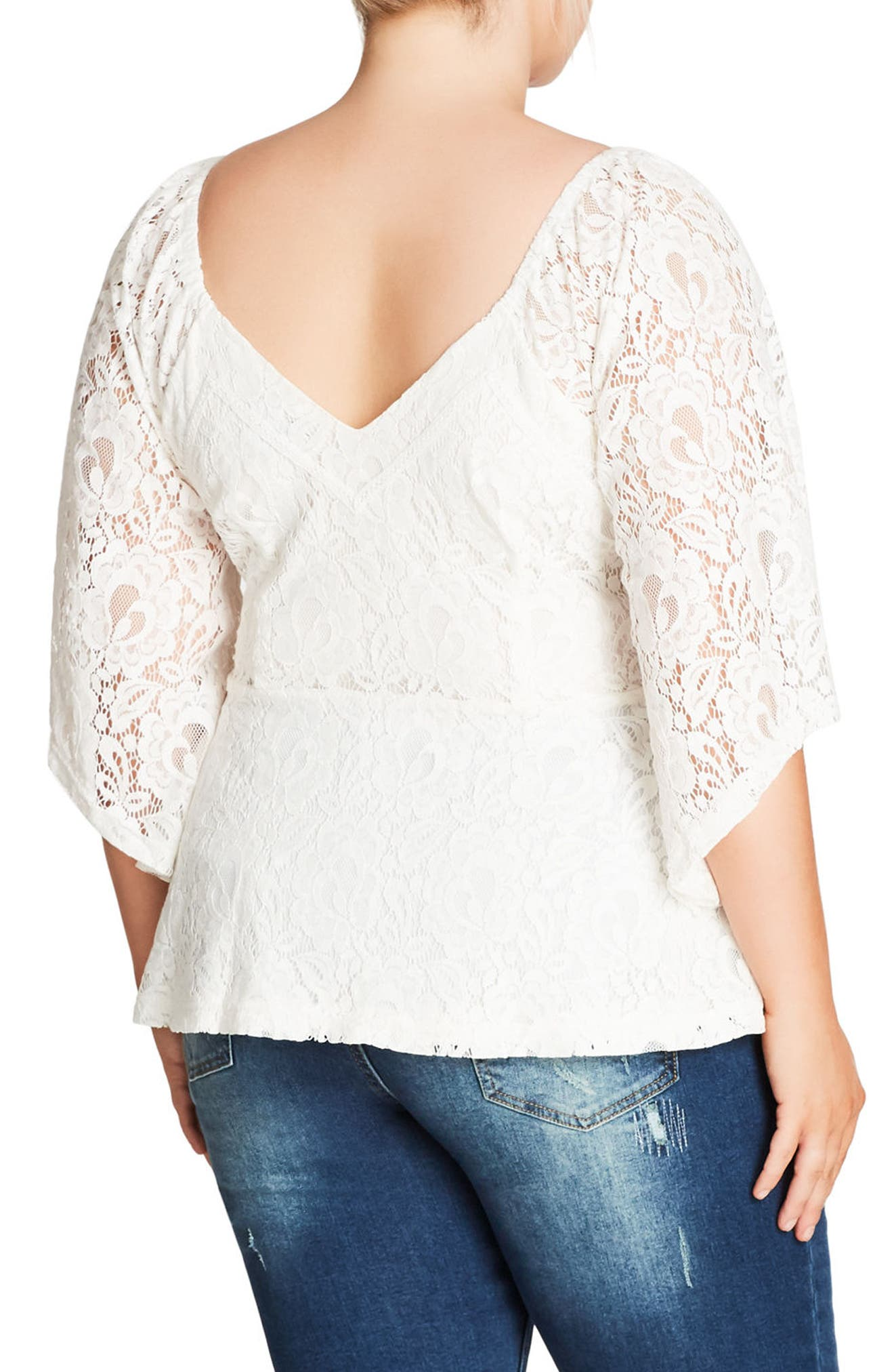 Sheer Romance Lace Top,                             Alternate thumbnail 2, color,                             Ivory