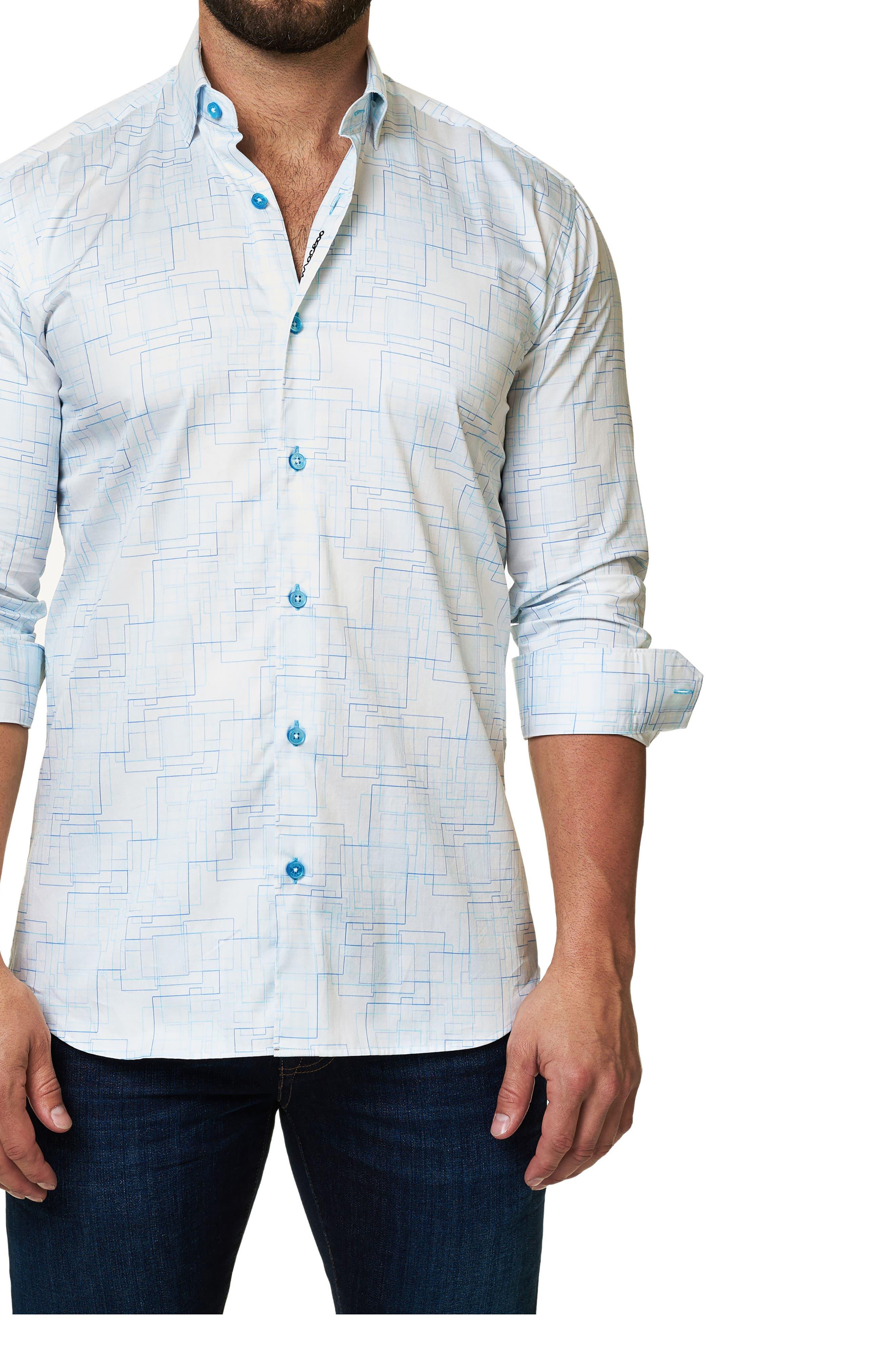 Trim Fit Geo Print Sport Shirt,                         Main,                         color, White