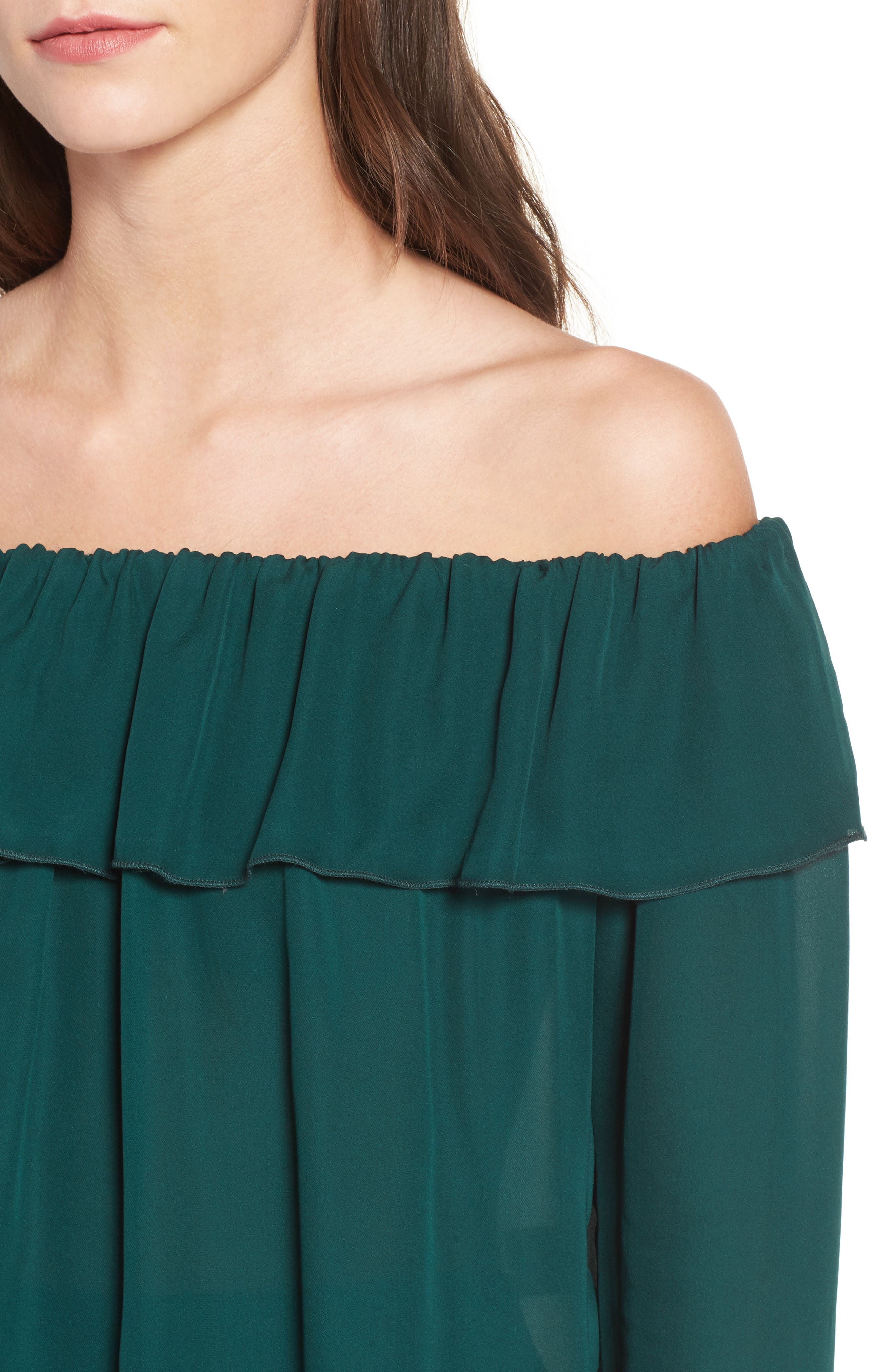 Kennedy Off the Shoulder Blouse,                             Alternate thumbnail 4, color,                             Emerald Green