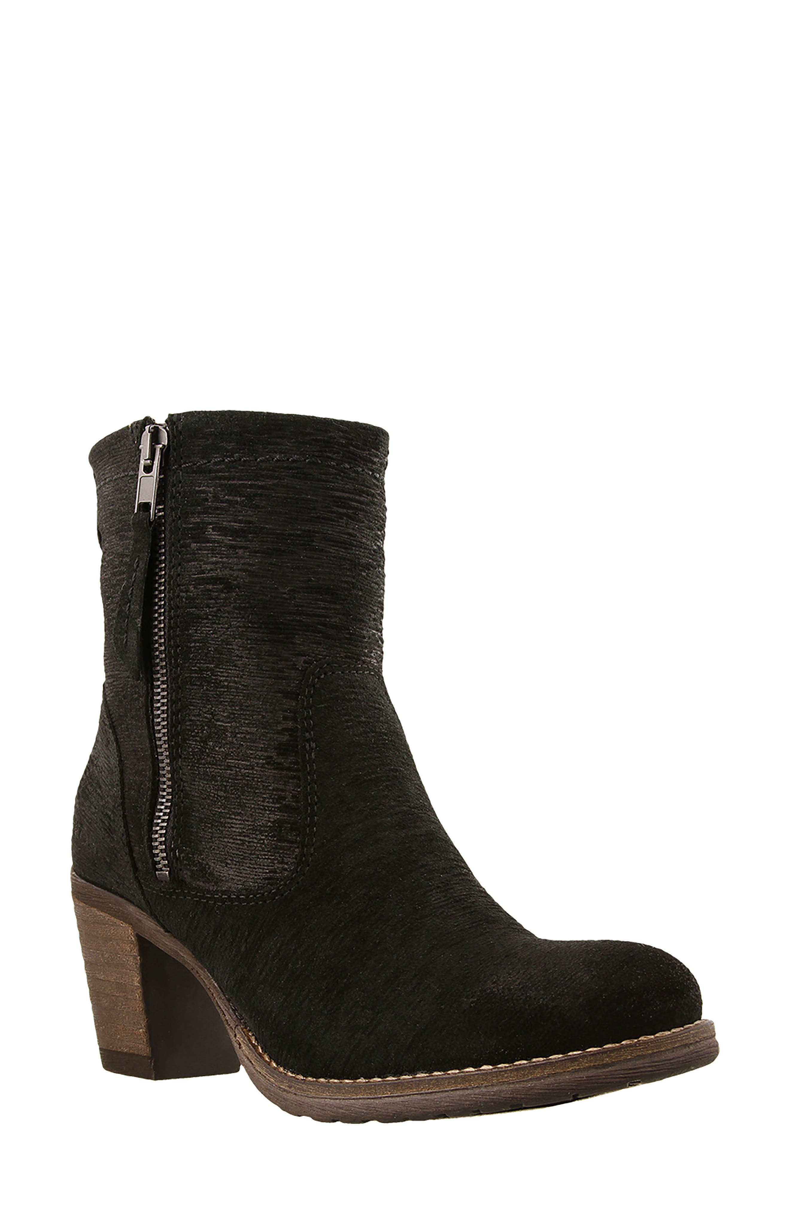 Shaka 2 Embossed Faux Fur Lined Bootie,                             Main thumbnail 1, color,                             Black Emboss Suede