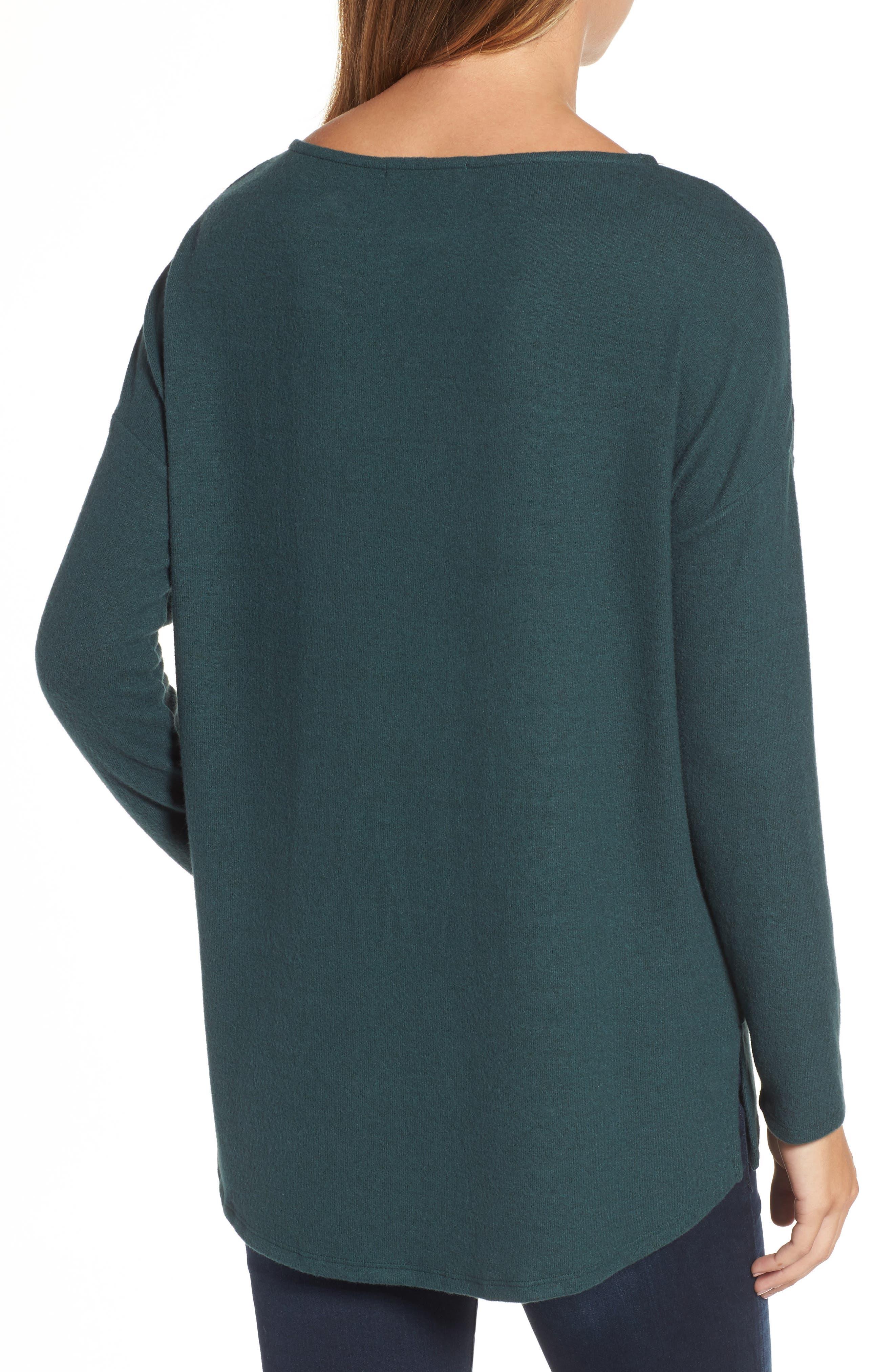 Cozy Ballet Neck High/Low Pullover,                             Alternate thumbnail 2, color,                             Green Gables