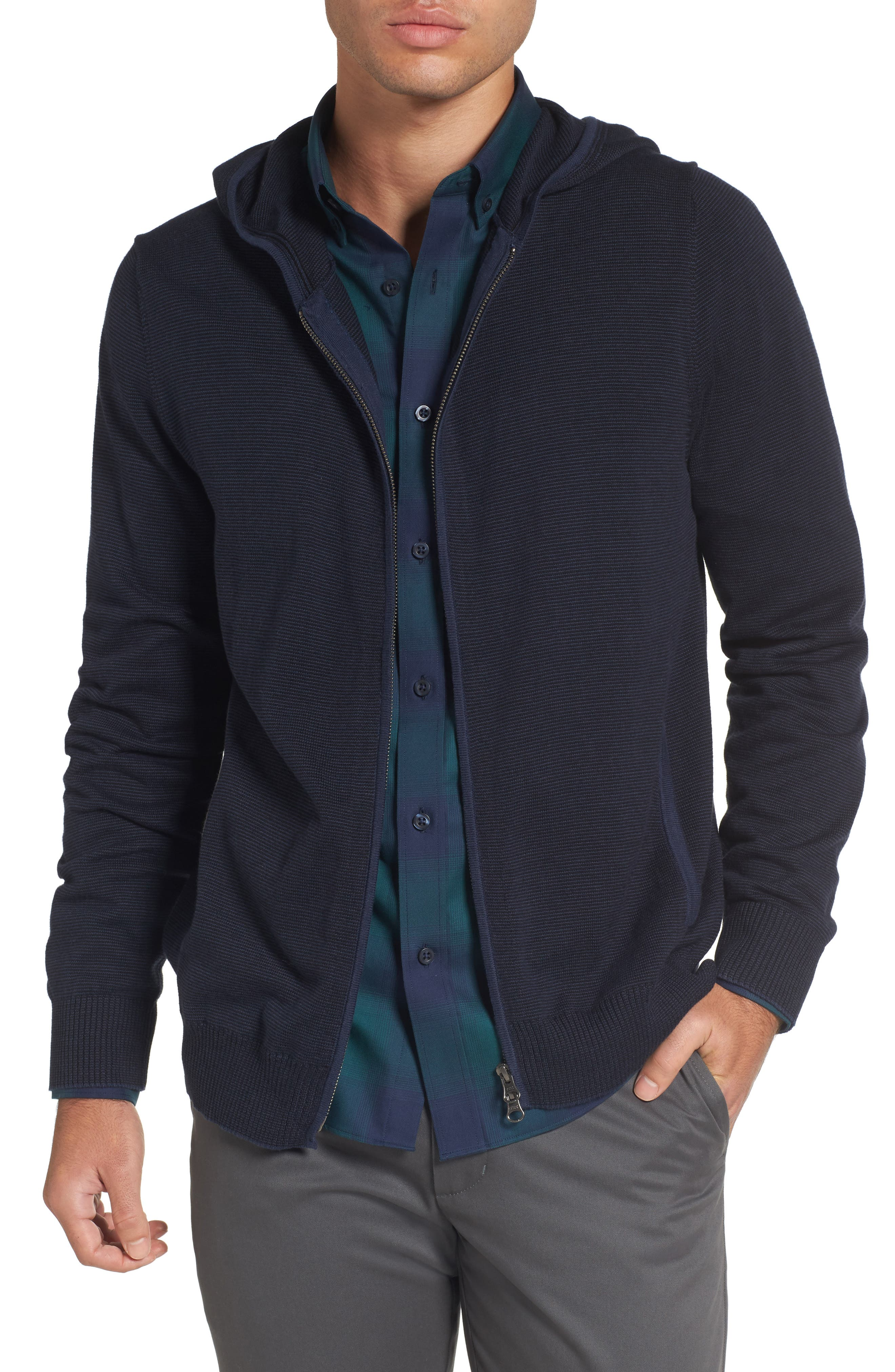 Zip Front Hooded Sweater,                         Main,                         color, Navy Iris Stripe