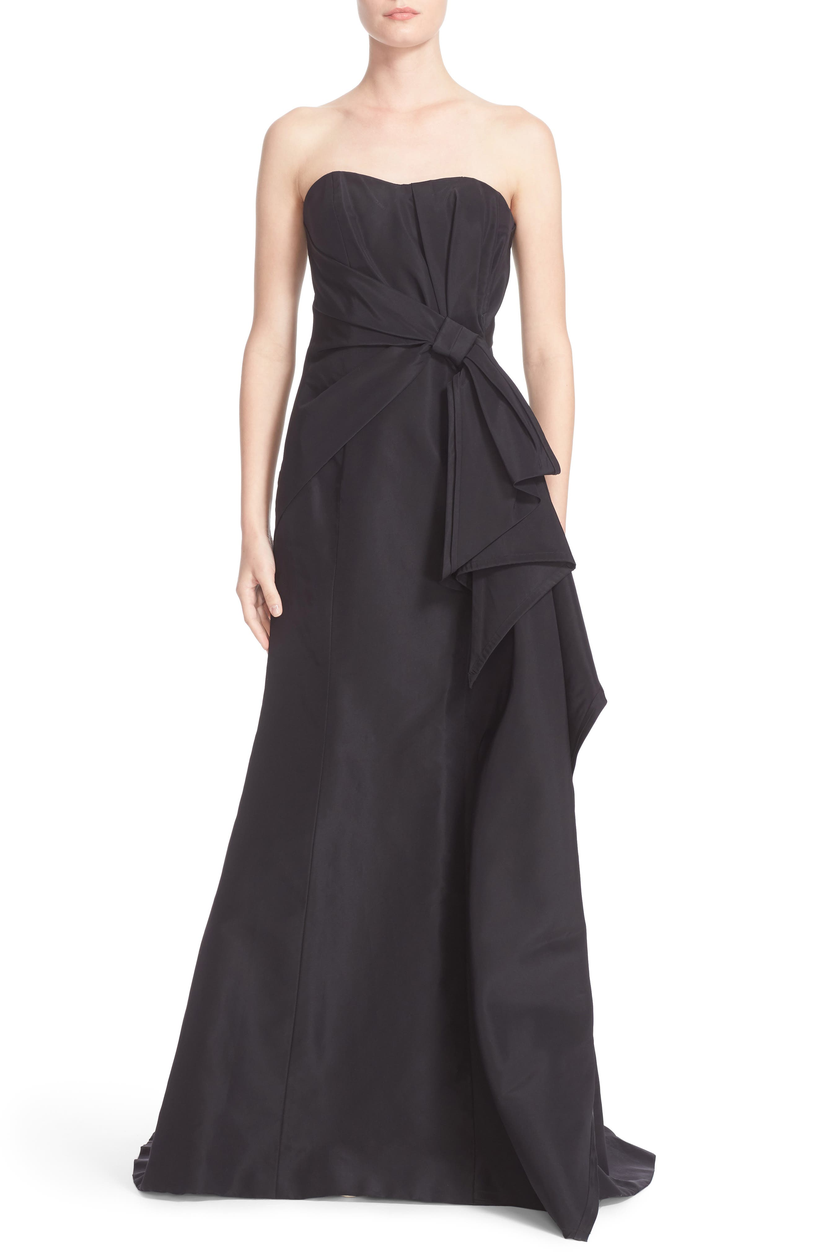 Main Image - Carolina Herrera Bow Detail Strapless Silk Faille Gown (Nordstrom Exclusive)