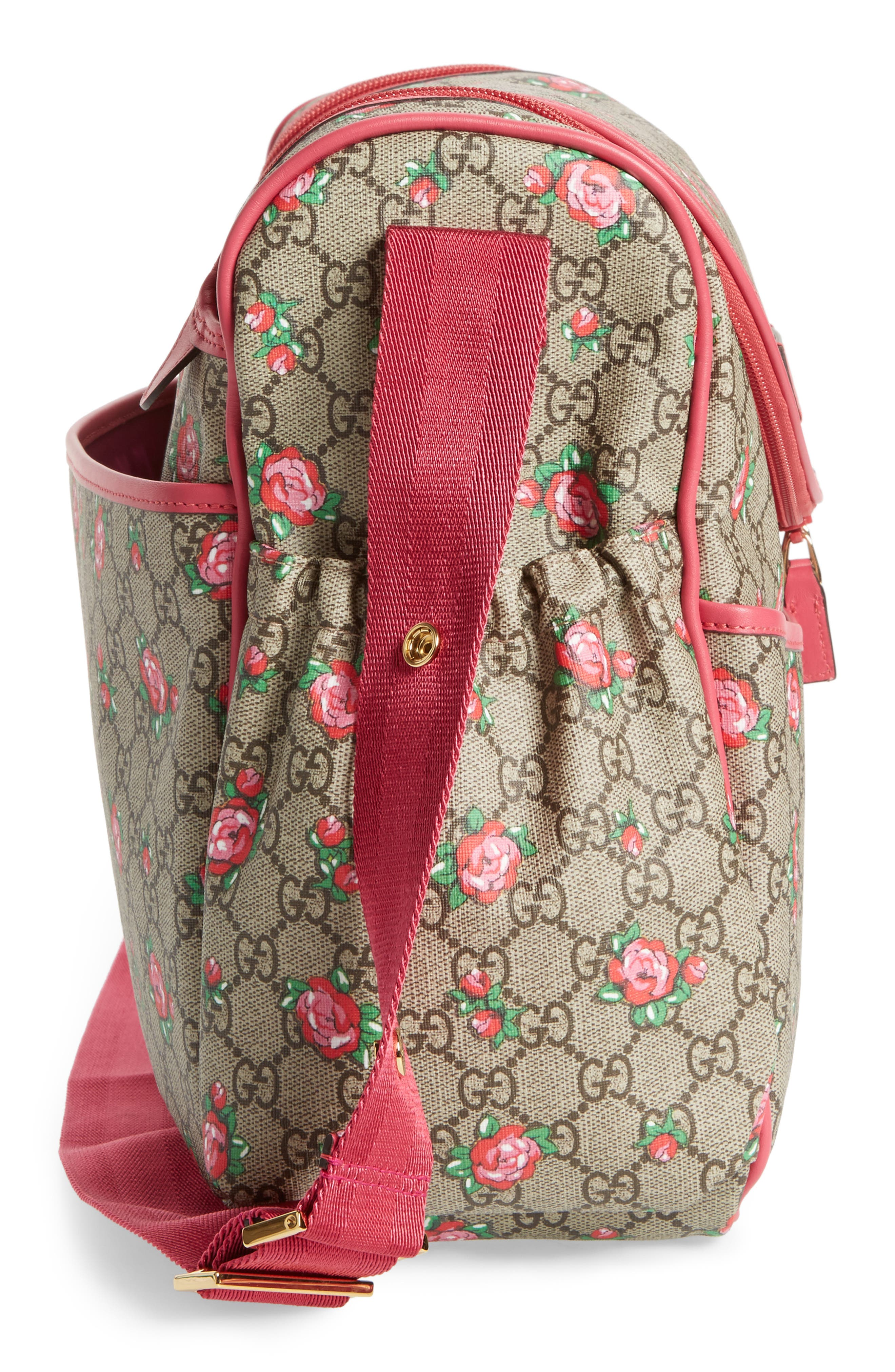 Alternate Image 5  - Gucci Rose Bud GG Supreme Diaper Bag