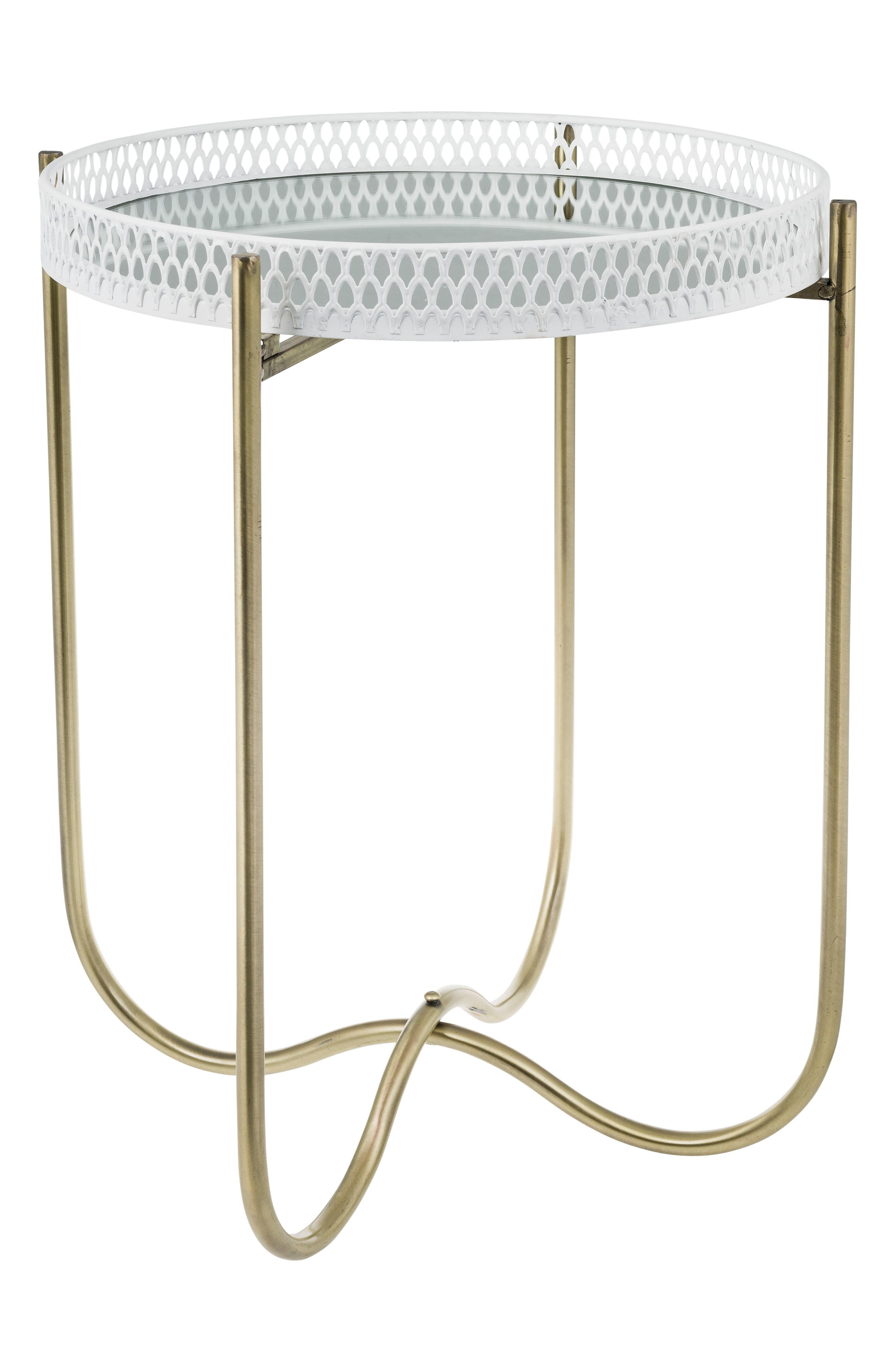 Deco Side Table,                         Main,                         color, White/ Gold