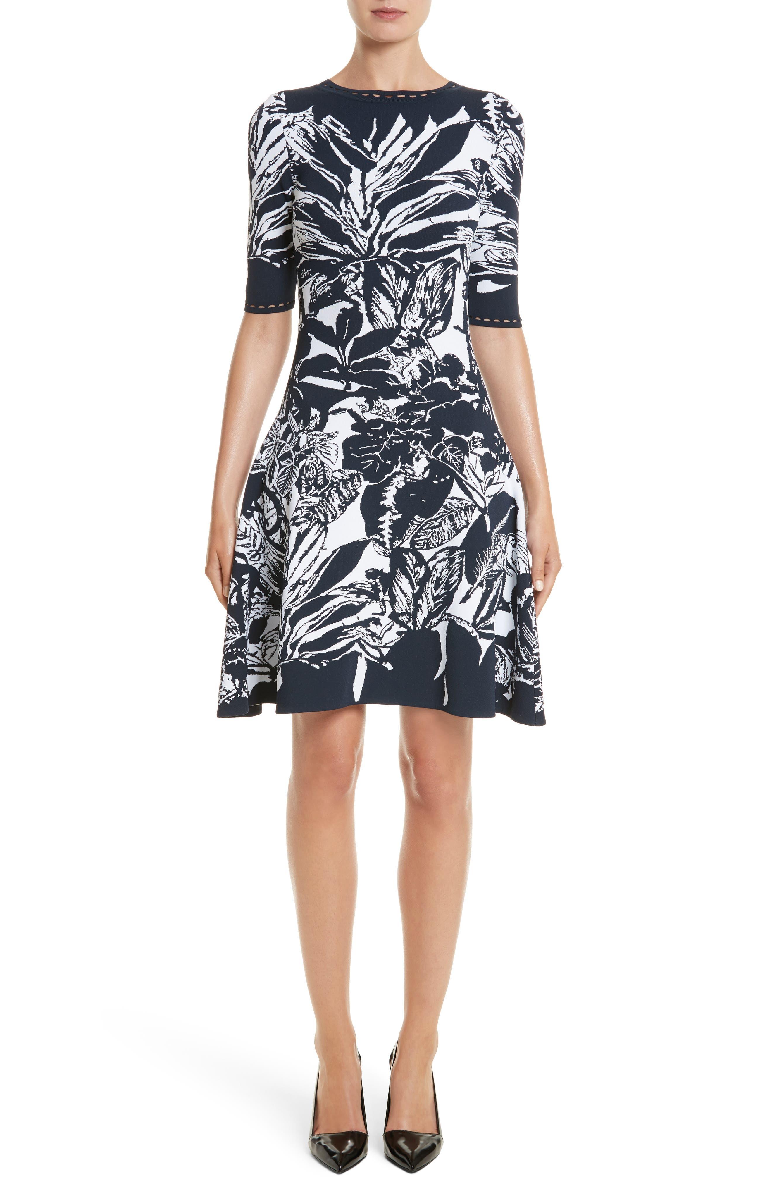 Oscar de la Renta Jungle Intarsia Knit Dress