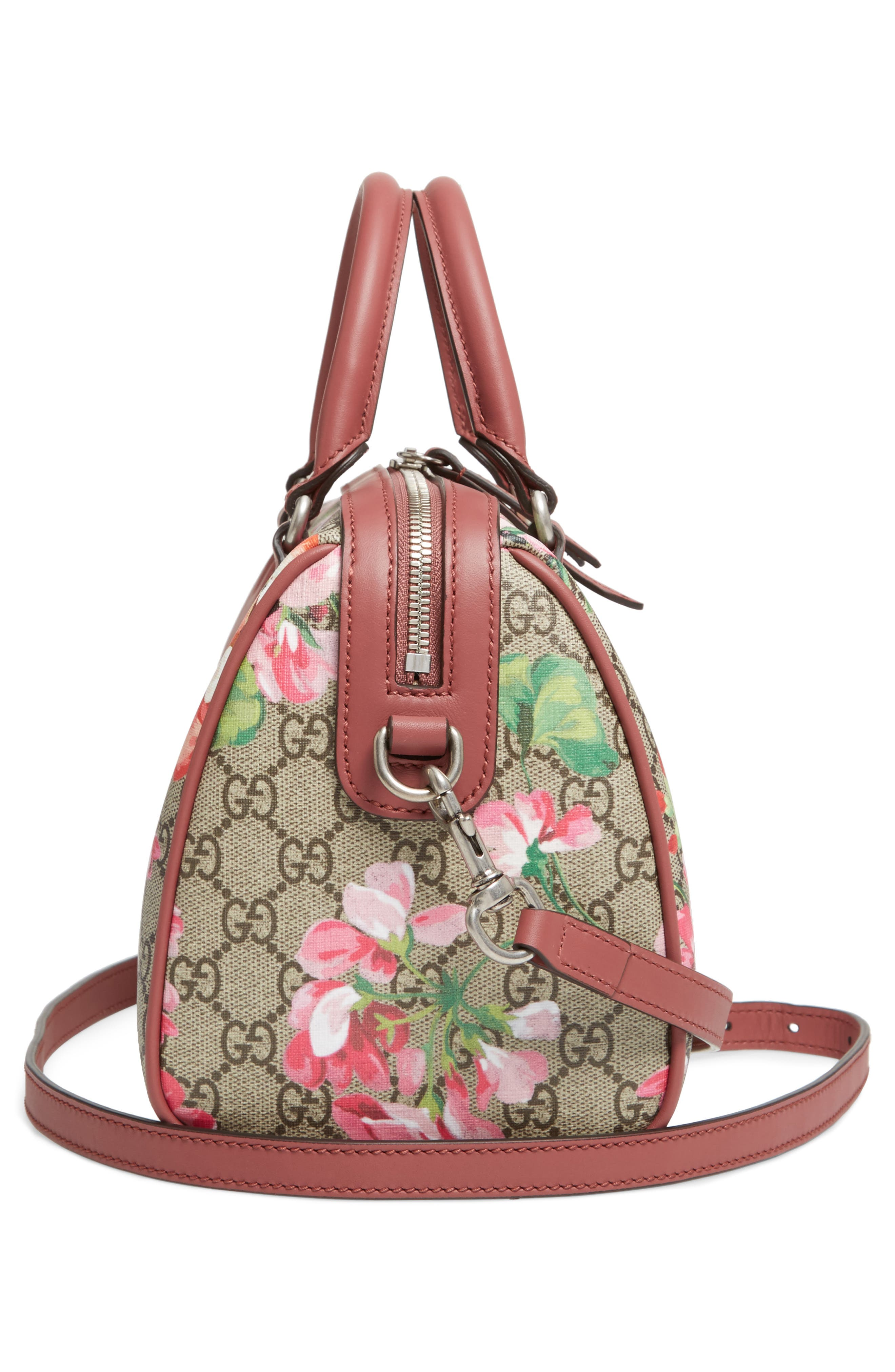 Small Blooms Top Handle GG Supreme Canvas Bag,                             Alternate thumbnail 4, color,                             Multi/Dry Rose
