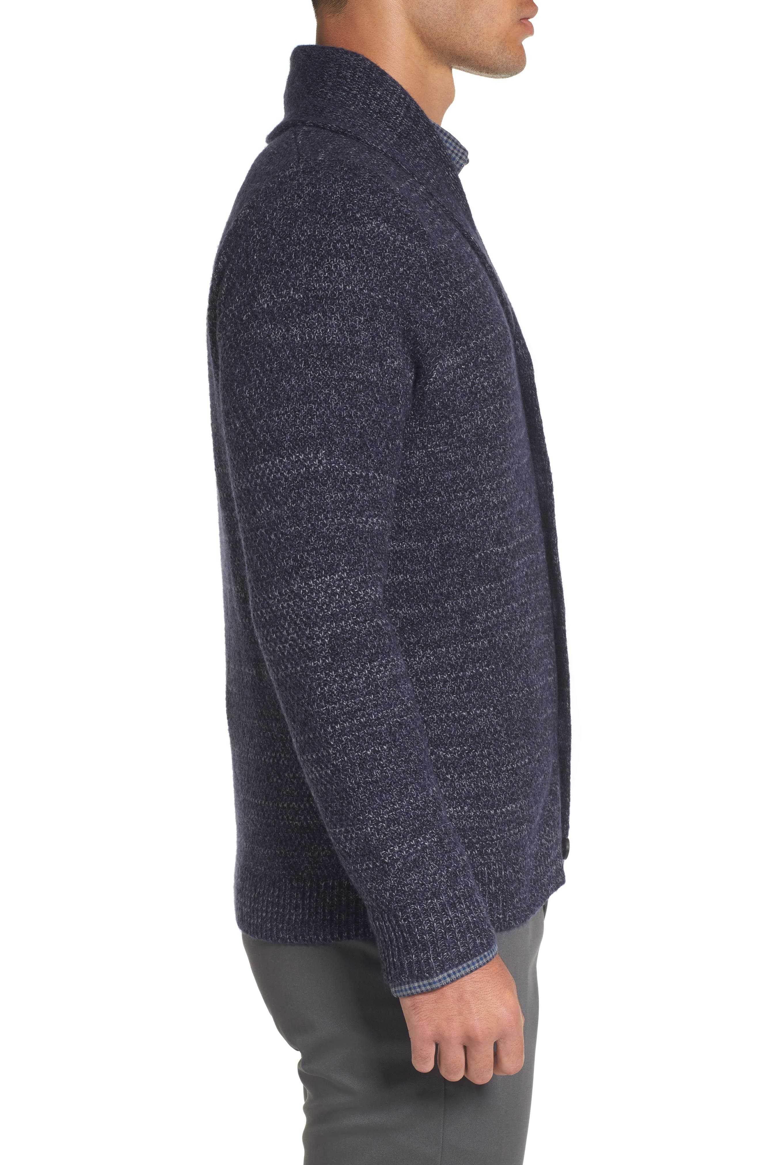 Shawl Collar Cardigan,                             Alternate thumbnail 3, color,                             Navy Iris Combo