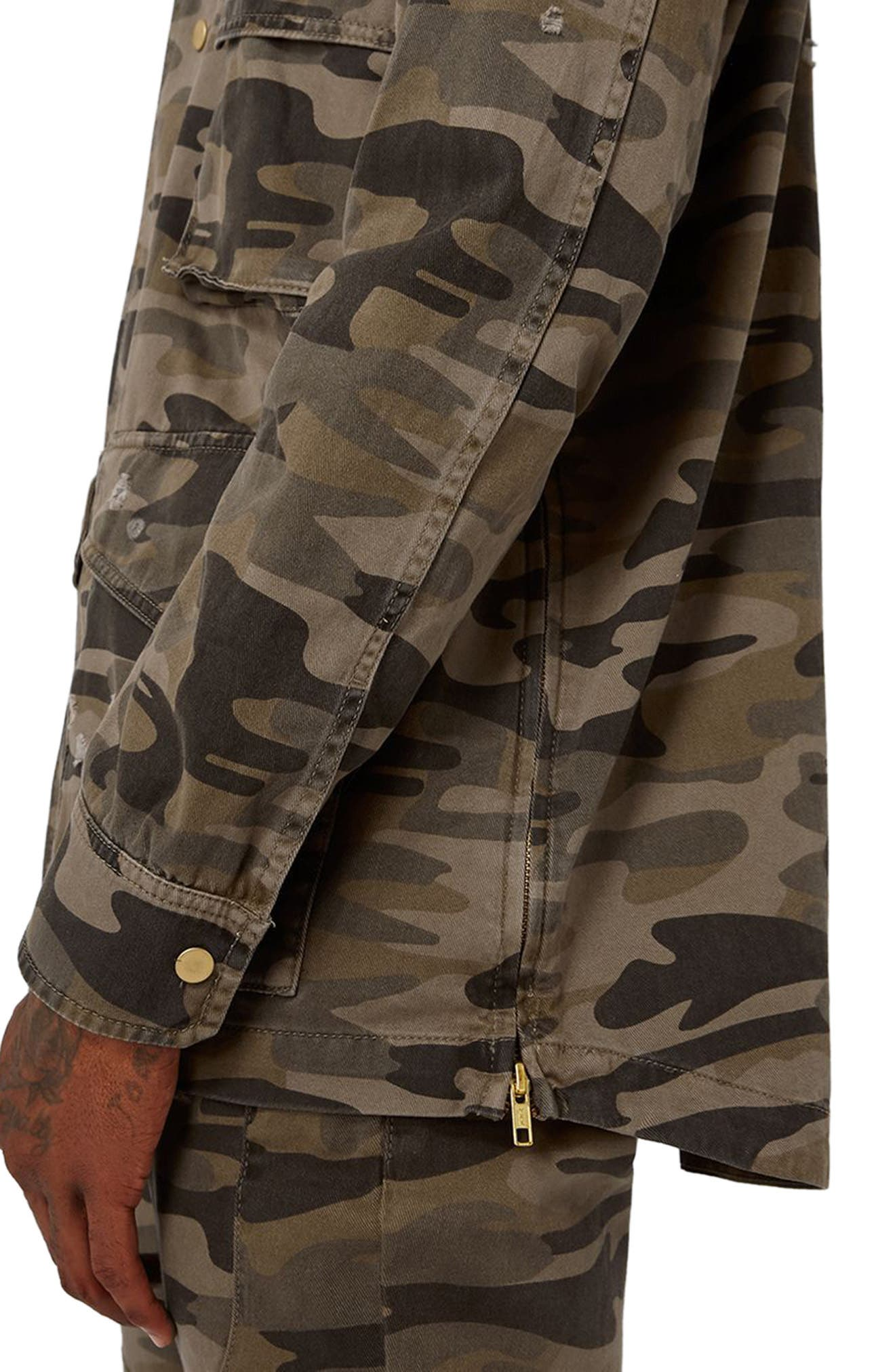 AAA Collection Distressed Camo Field Jacket,                             Alternate thumbnail 3, color,                             Green Multi