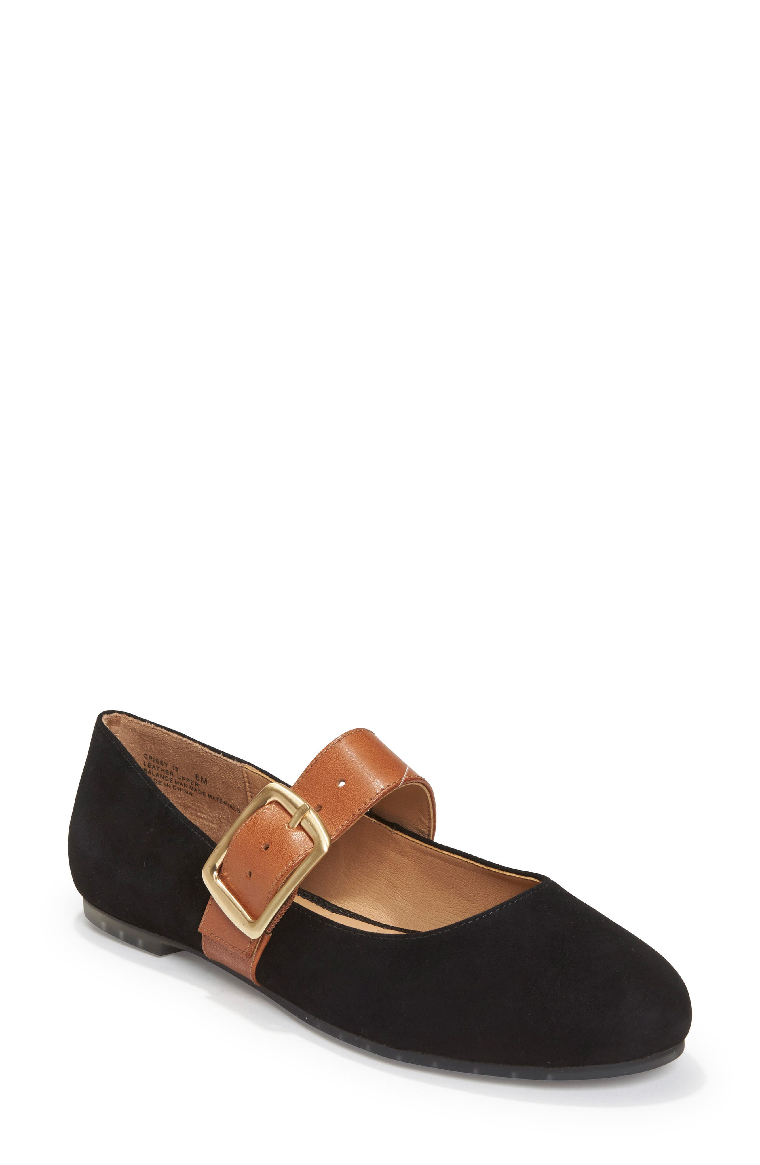 Crissy Mary Jane Flat,                         Main,                         color, Black Suede