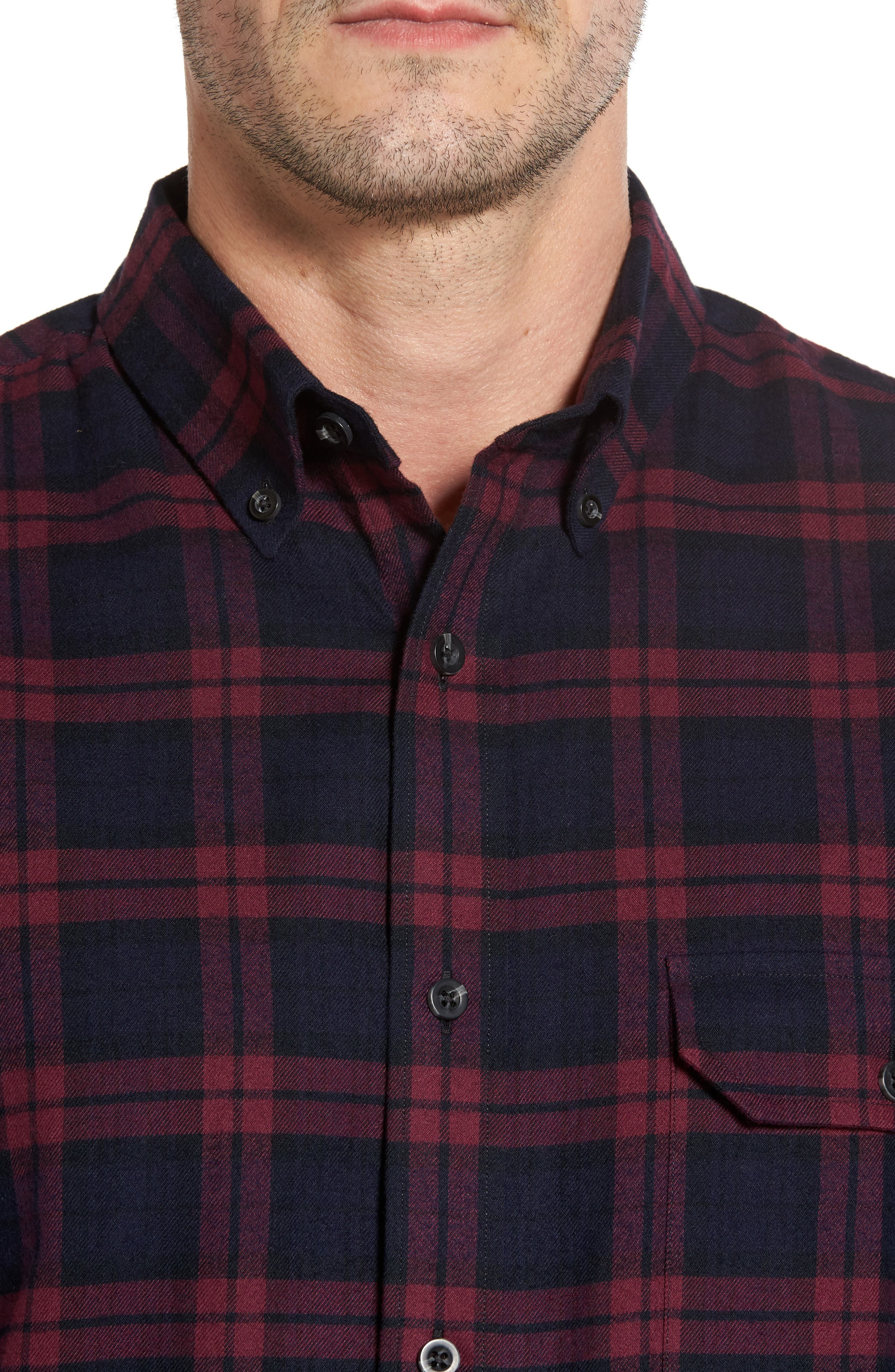 Regular Fit Plaid Sport Shirt,                             Alternate thumbnail 4, color,                             Red Chili Plaid Flannel