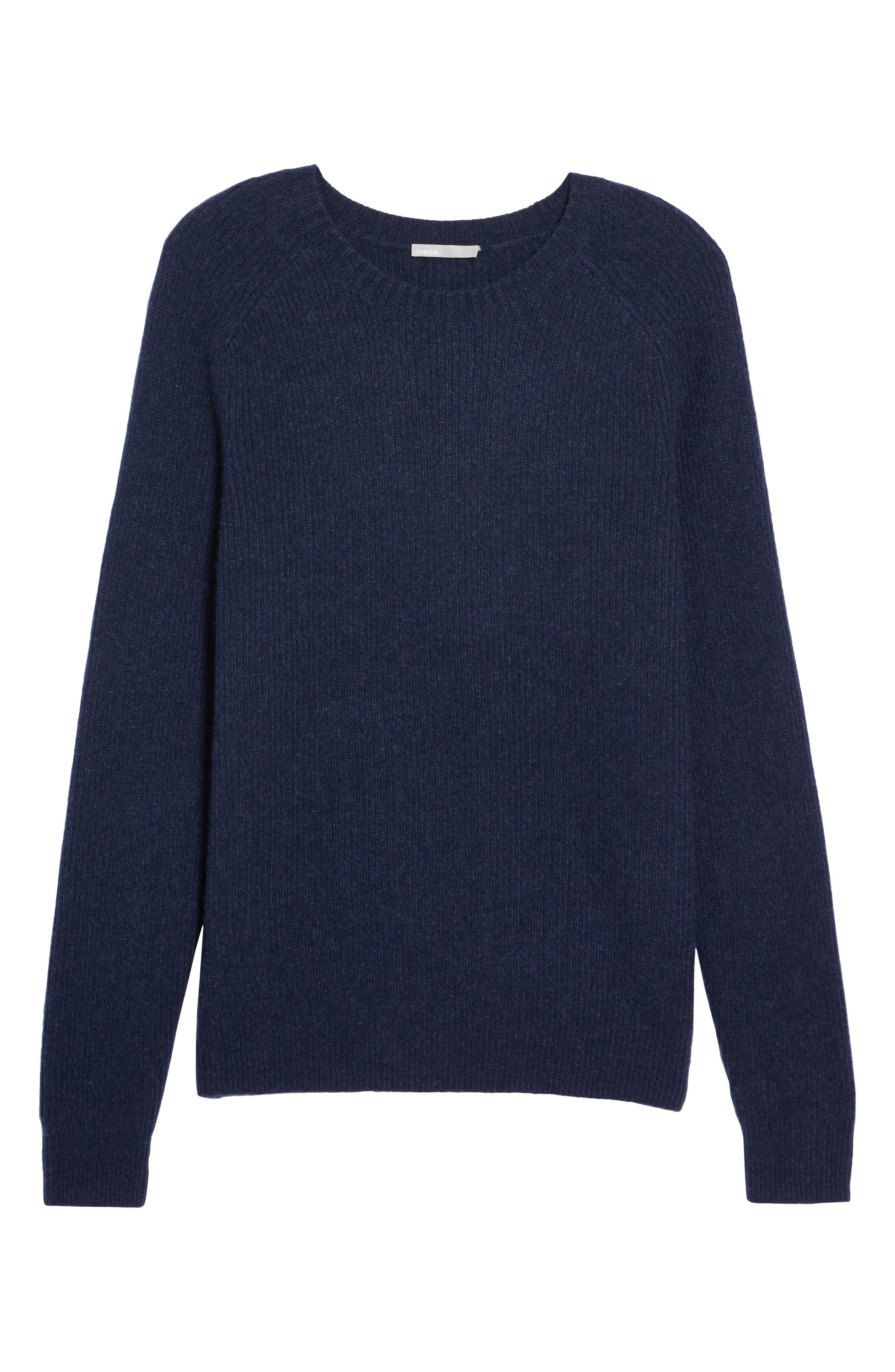 Ribbed Wool & Cashmere Raglan Sweater,                             Alternate thumbnail 5, color,                             Coastal