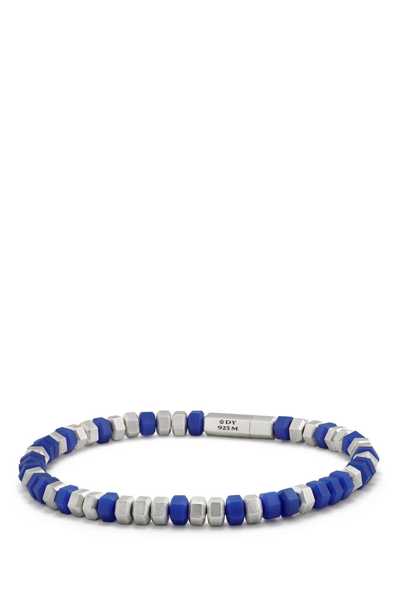 Hex Bead Bracelet,                         Main,                         color, Blue