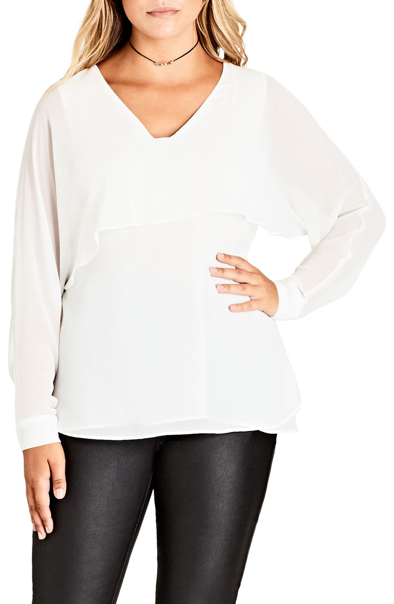 Alternate Image 1 Selected - City Chic Cape Top (Plus Size)