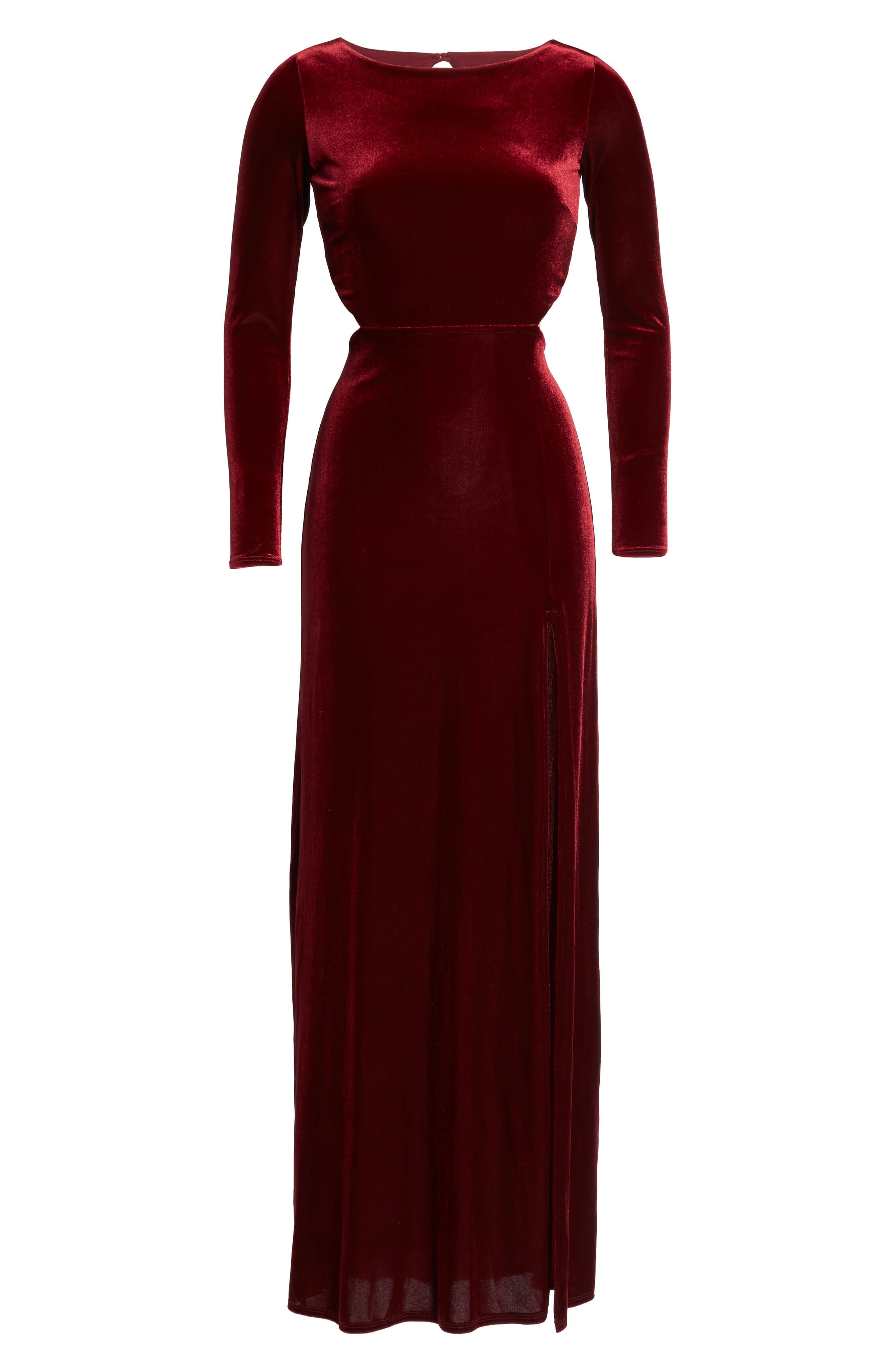 Besame Long Sleeve Velvet Maxi Dress,                             Alternate thumbnail 6, color,                             Burgundy