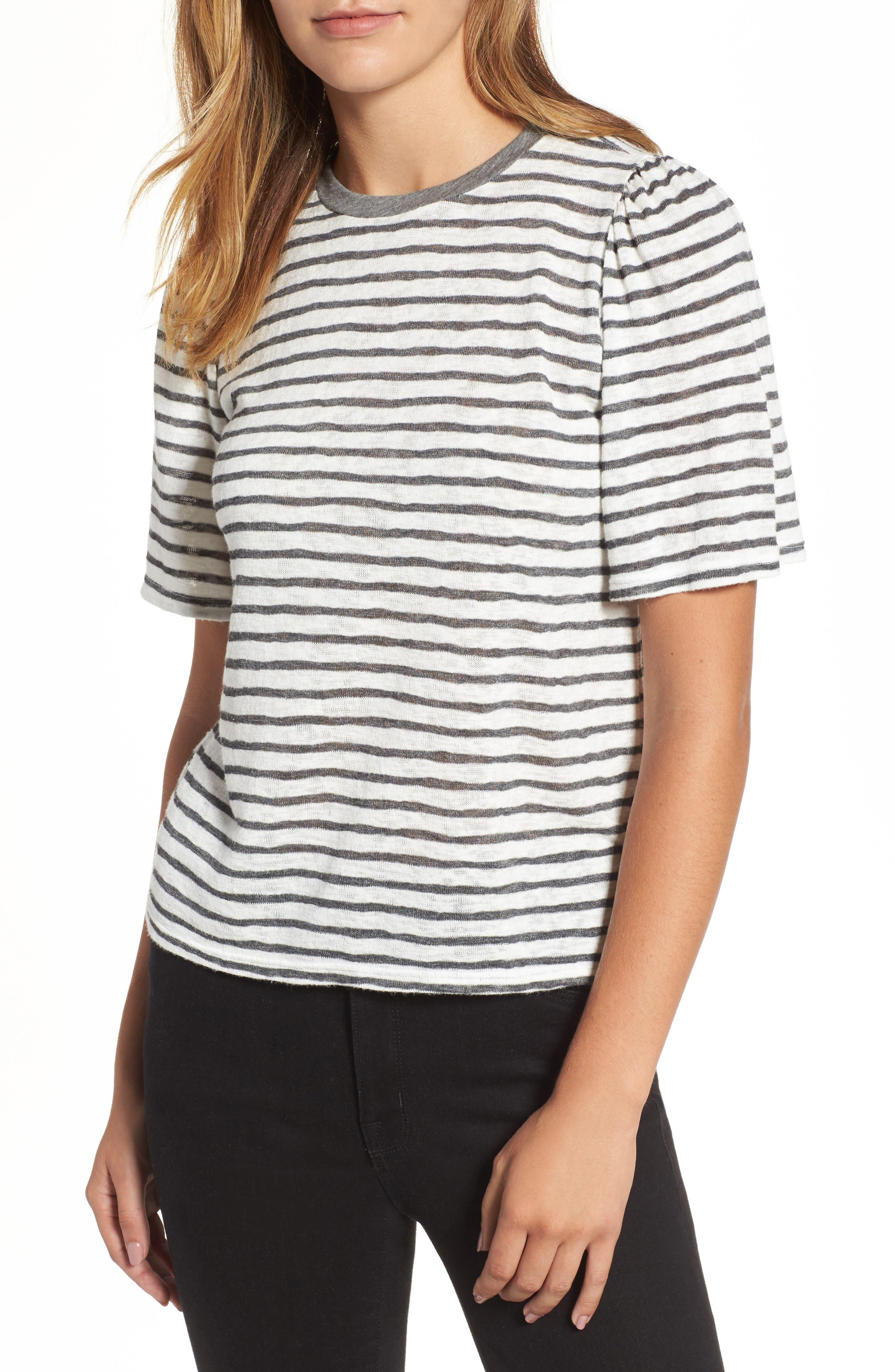 Velvet by Graham & Spencer Textured Stripe Puff Sleeve Tee