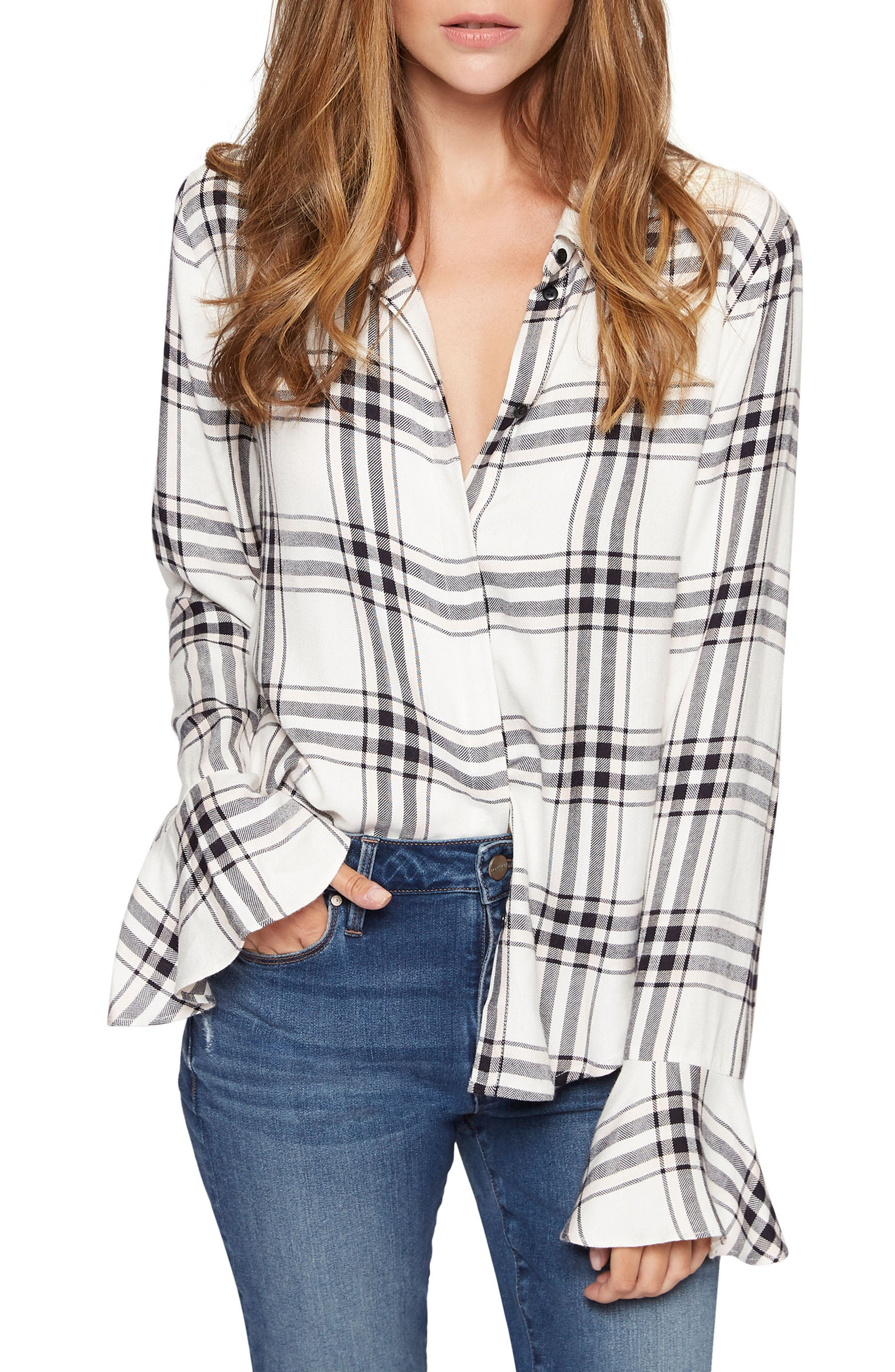 Nightscape Plaid Ruffle Cuff Shirt,                             Main thumbnail 1, color,                             Town And Country Plaid