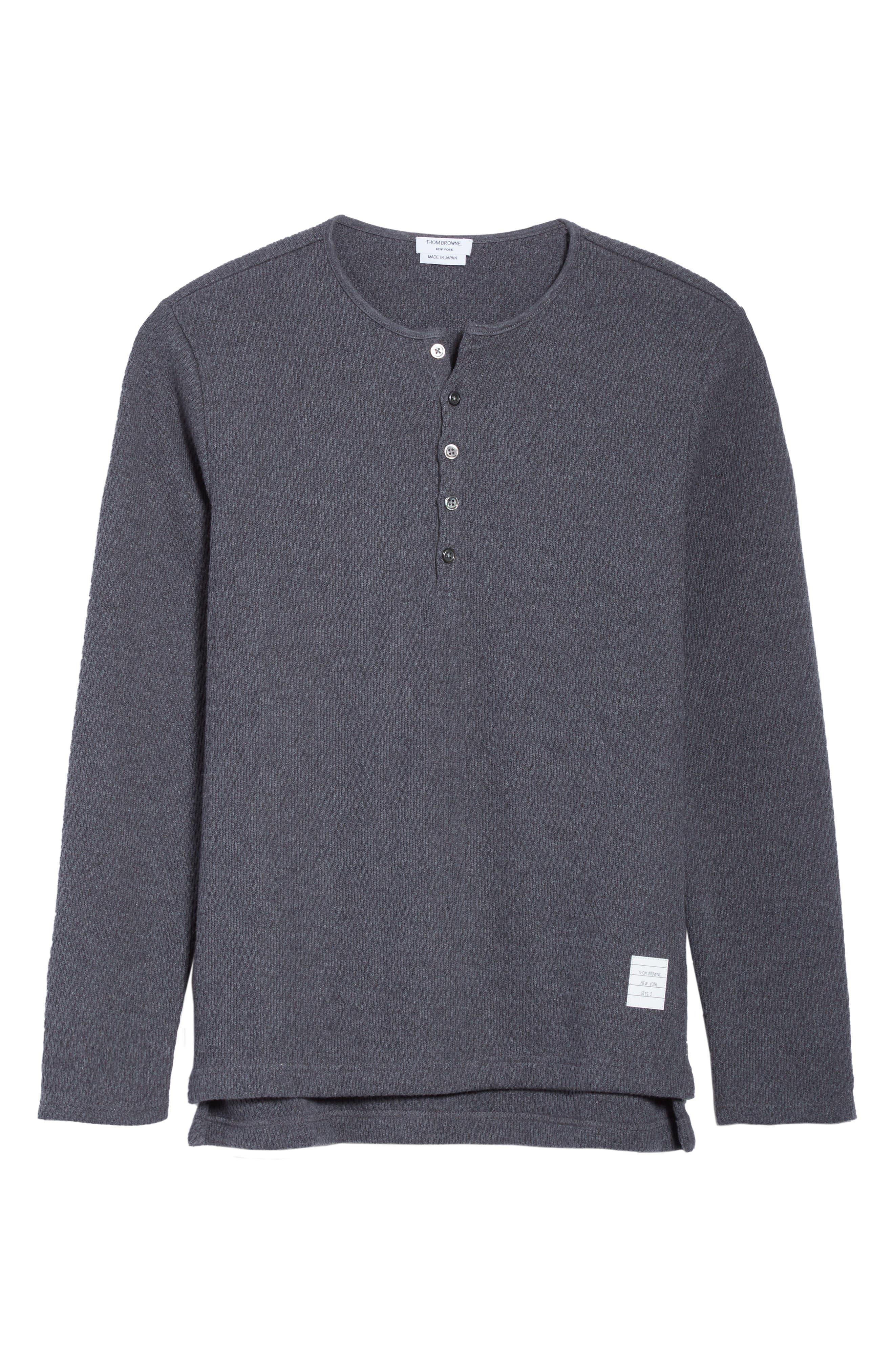 Knit Cotton Henley,                             Alternate thumbnail 6, color,                             Dark Grey