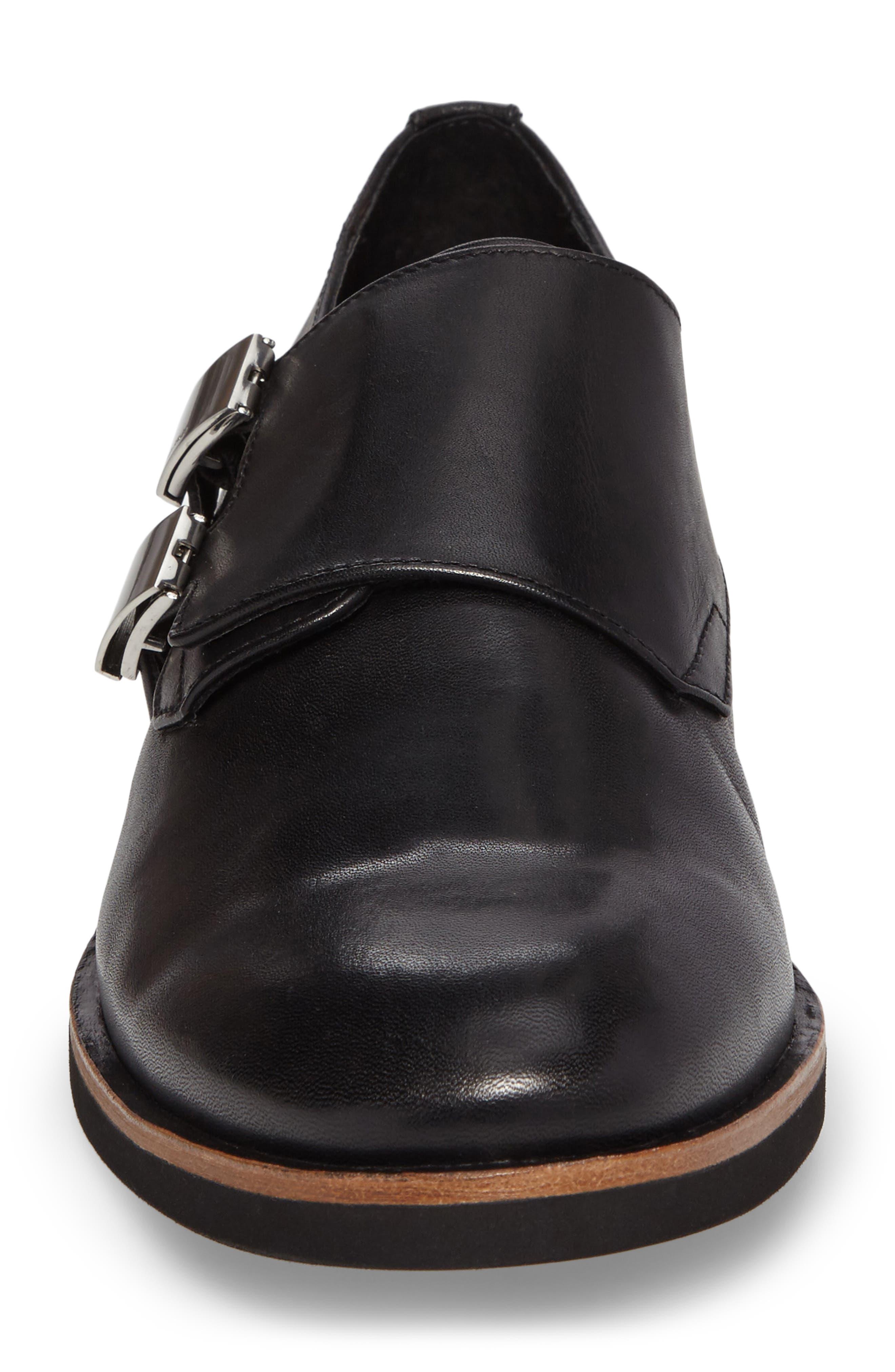 Finnegan Double Monk Strap Shoe,                             Alternate thumbnail 4, color,                             Black Leather