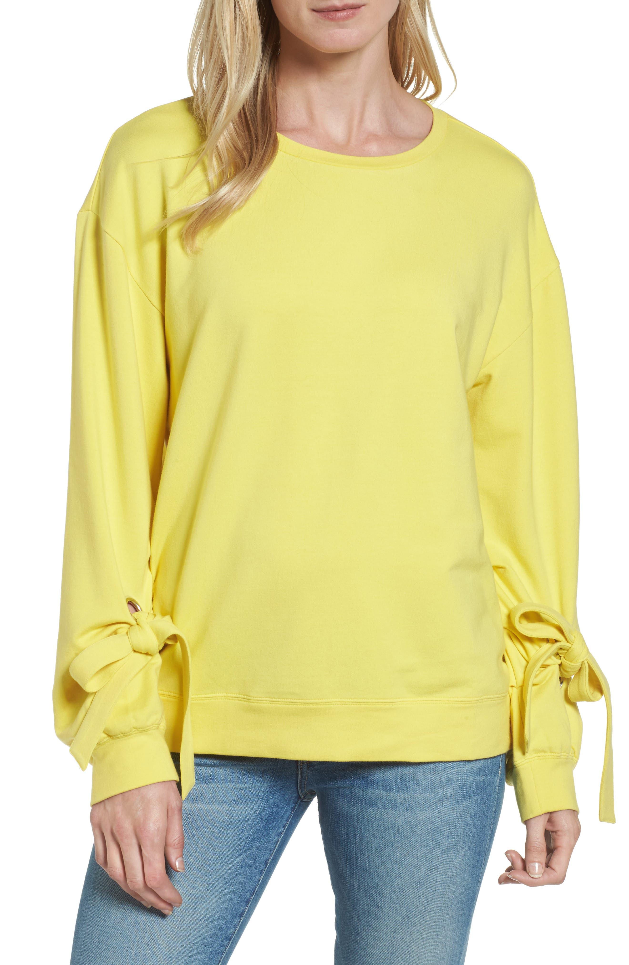 Halogen® Grommet Tie Sleeve Sweatshirt (Regular & Petite)
