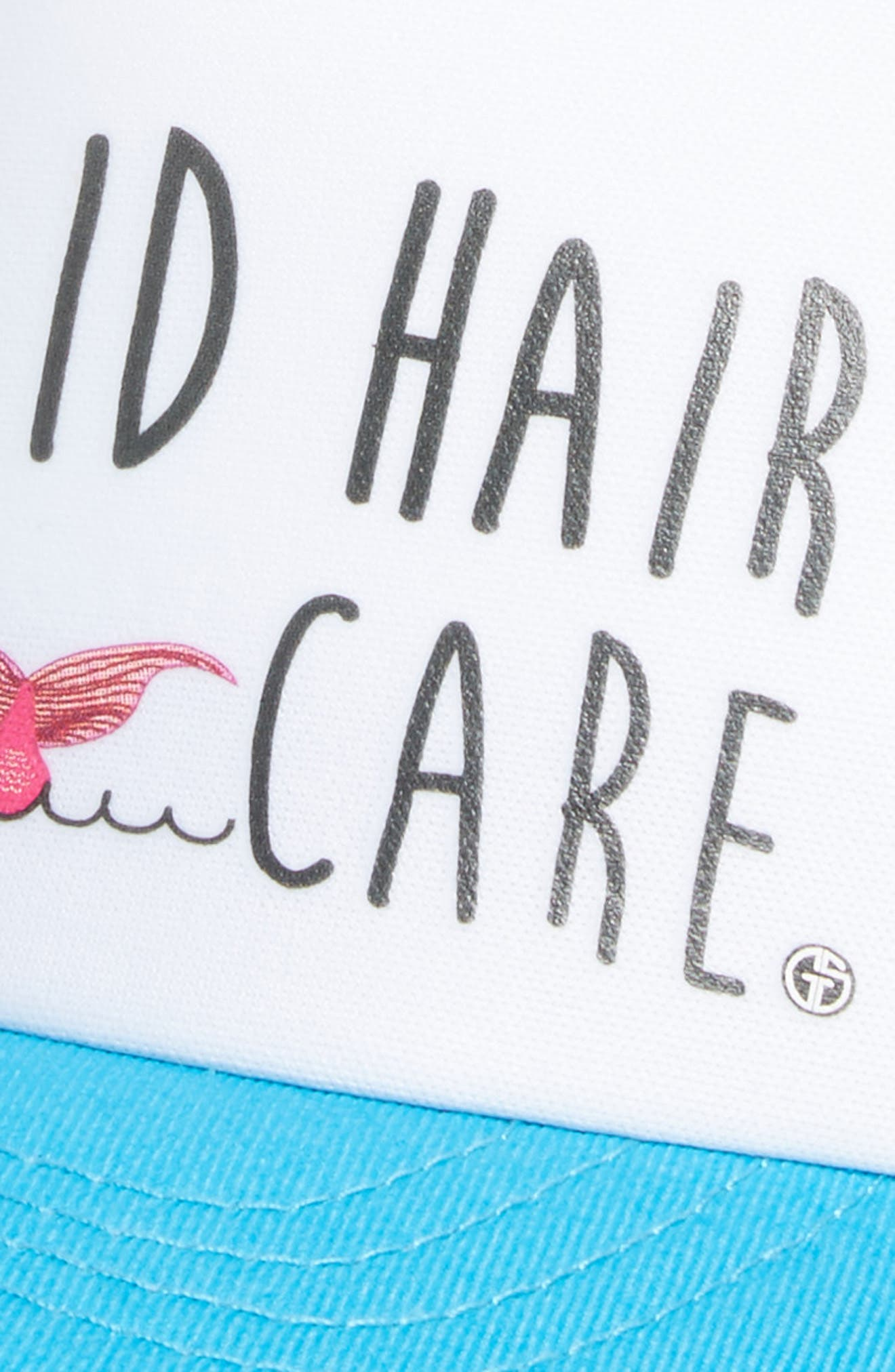 Trucker Hat,                             Alternate thumbnail 3, color,                             Aqua/ White Mermaid Hair