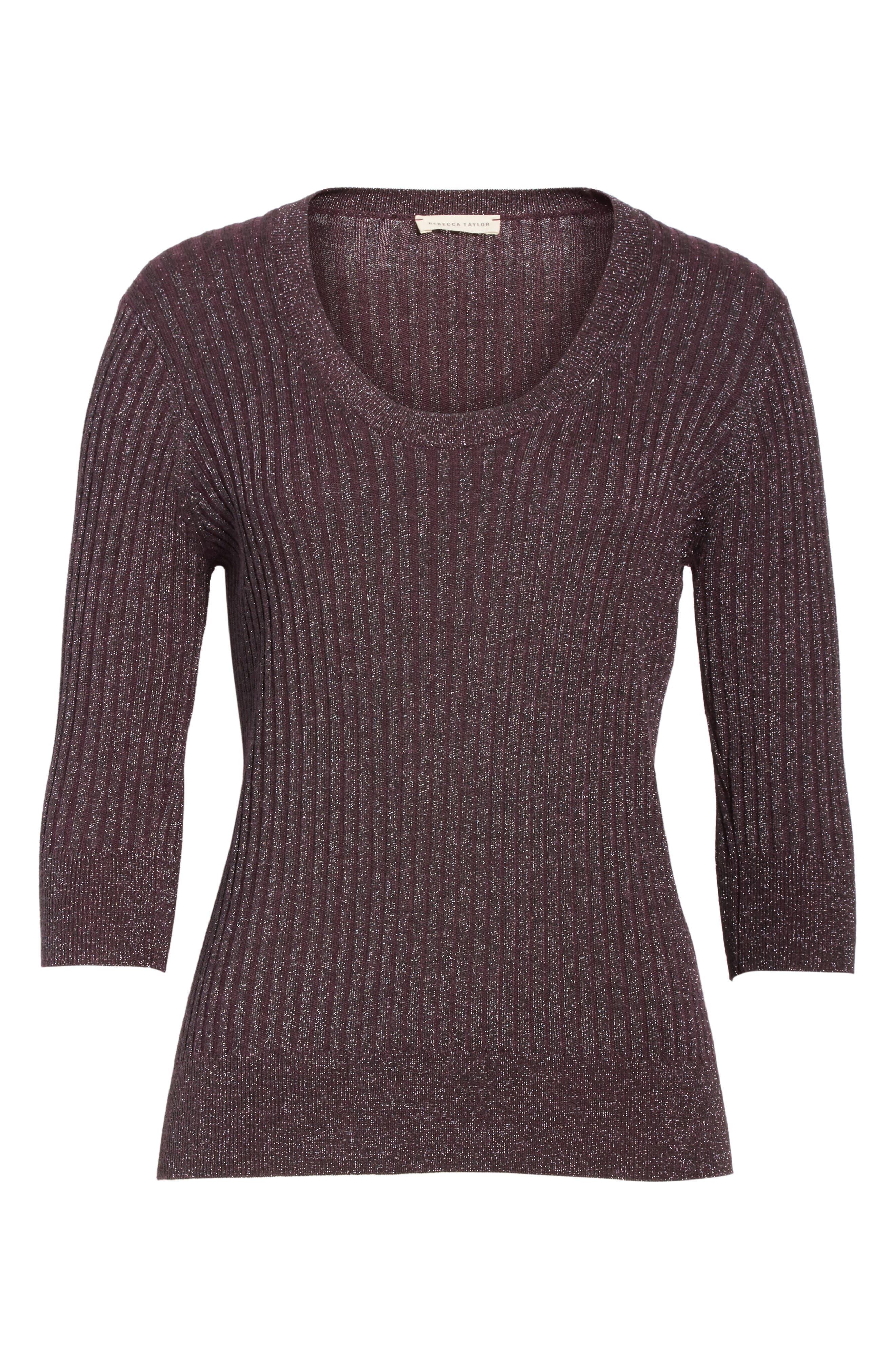 Alternate Image 7  - Rebecca Taylor Metallic Rib Sweater