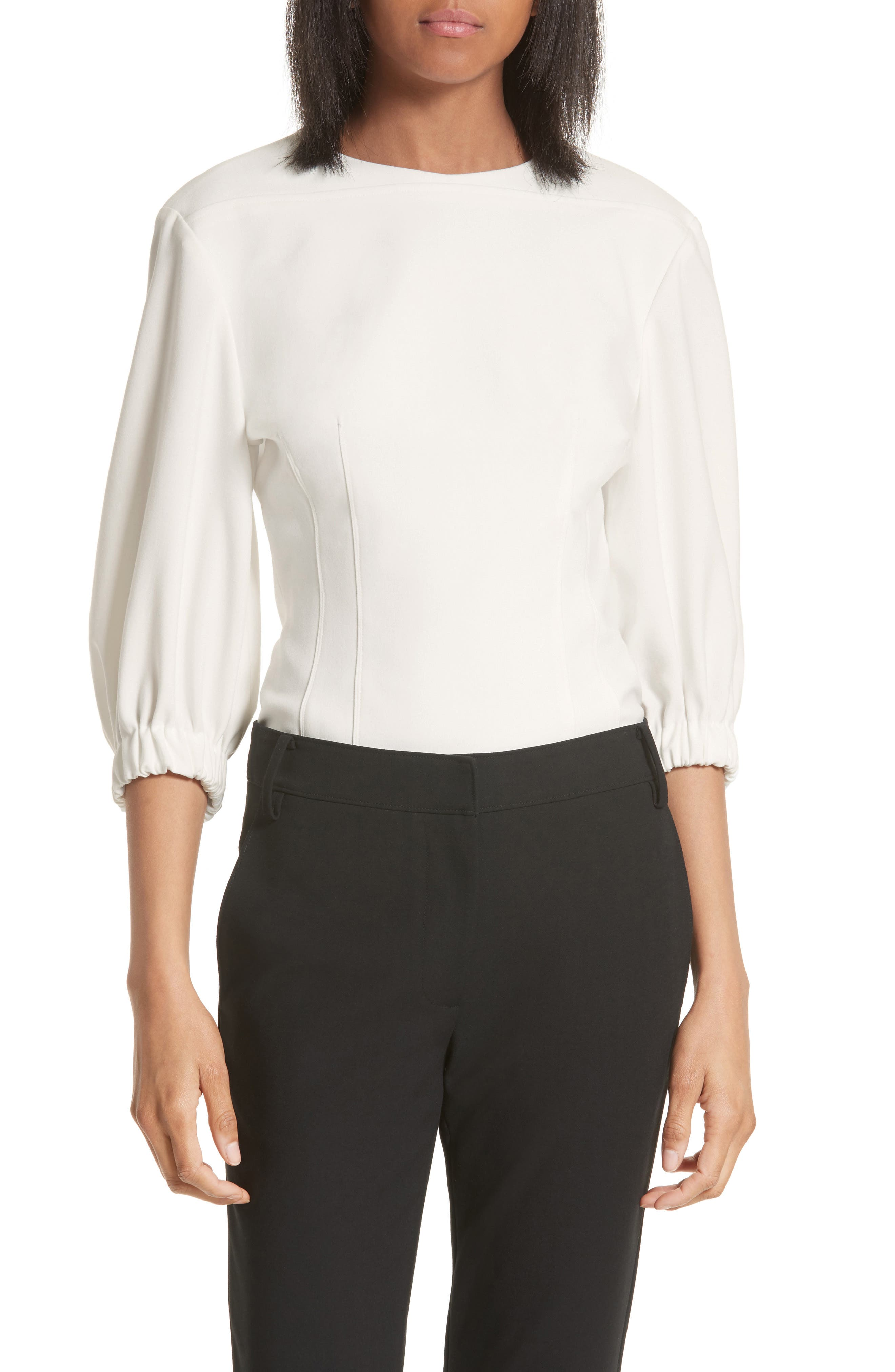 Twill Corset Top,                         Main,                         color, Ivory