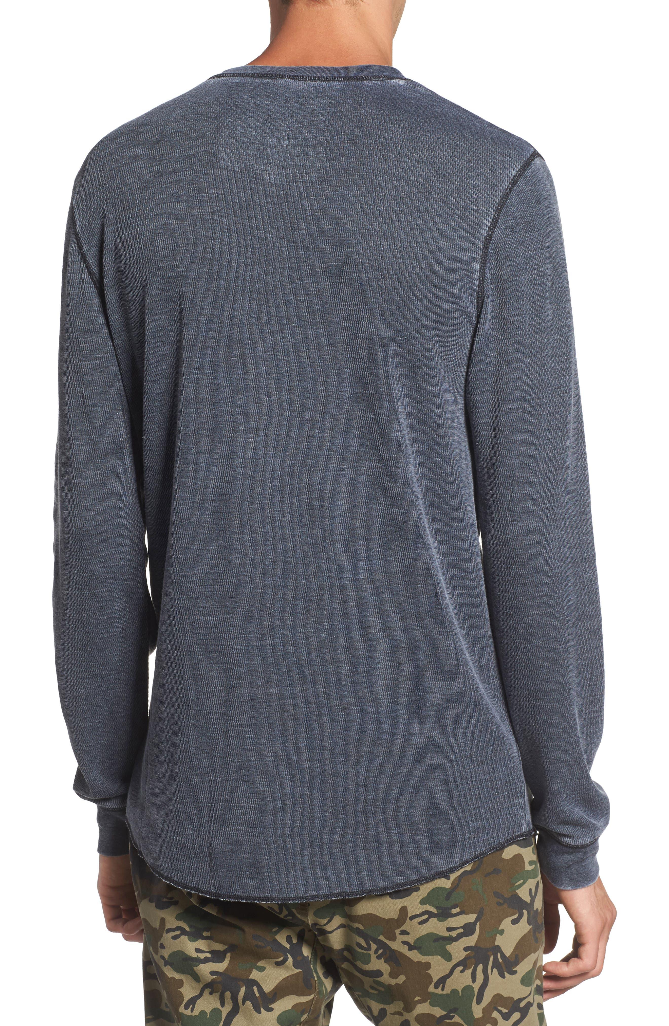 Notch Neck Thermal T-Shirt,                             Alternate thumbnail 2, color,                             Black/ White Burnout