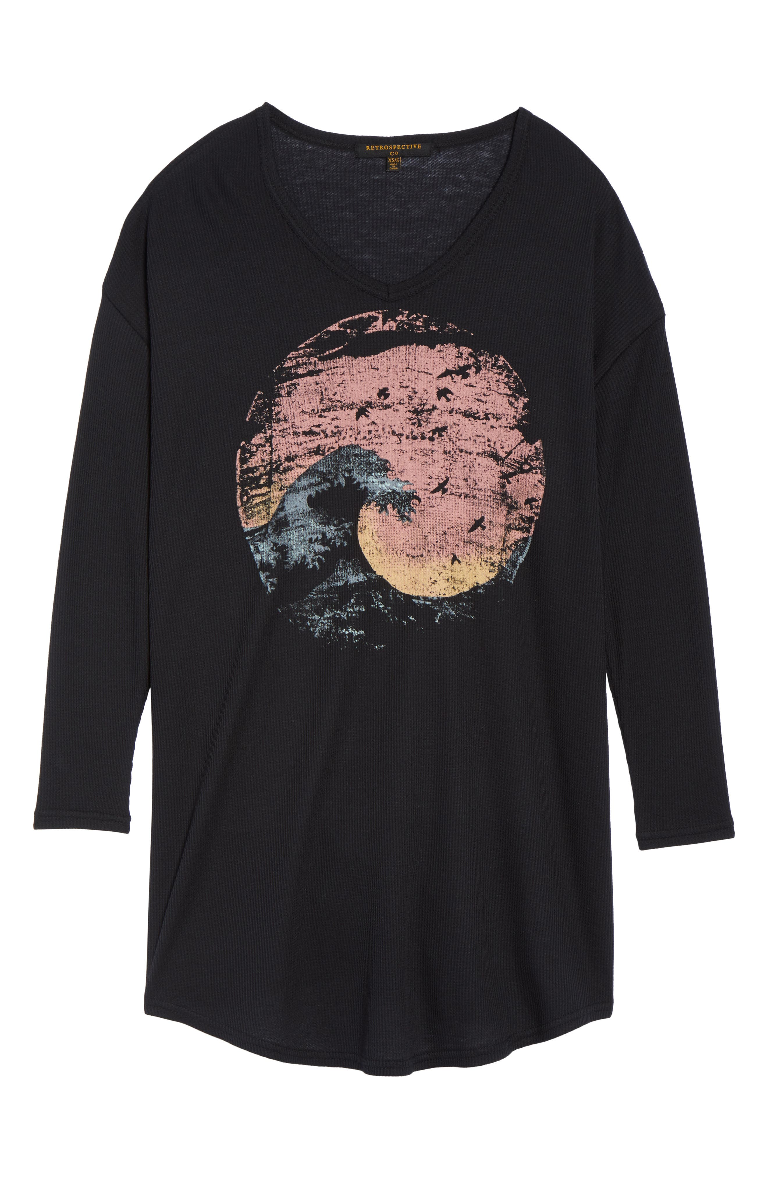 Thermal Nightshirt,                             Alternate thumbnail 4, color,                             Black Wave Sunset