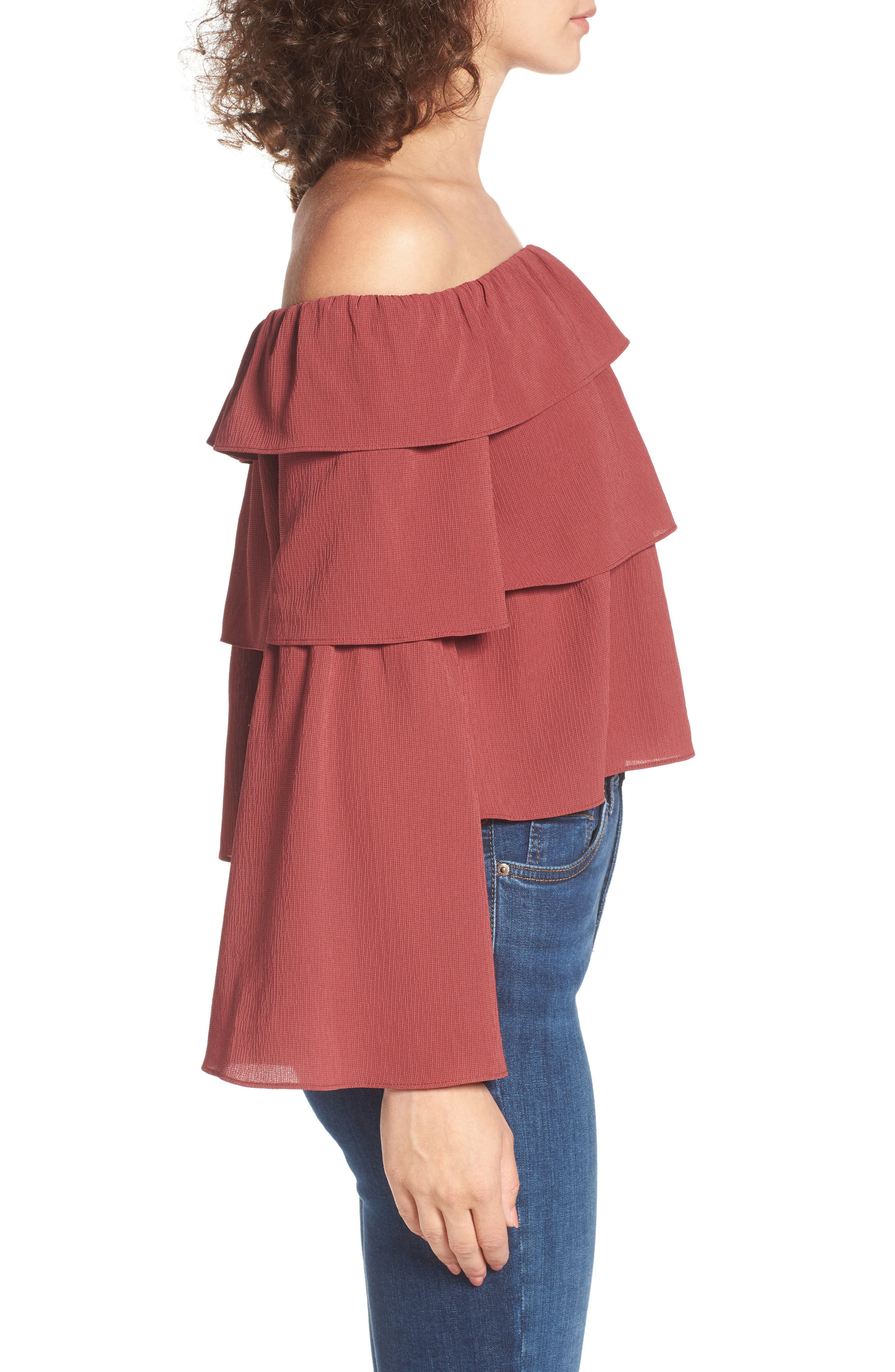 Ruffle Off the Shoulder Top,                             Alternate thumbnail 3, color,                             Rust