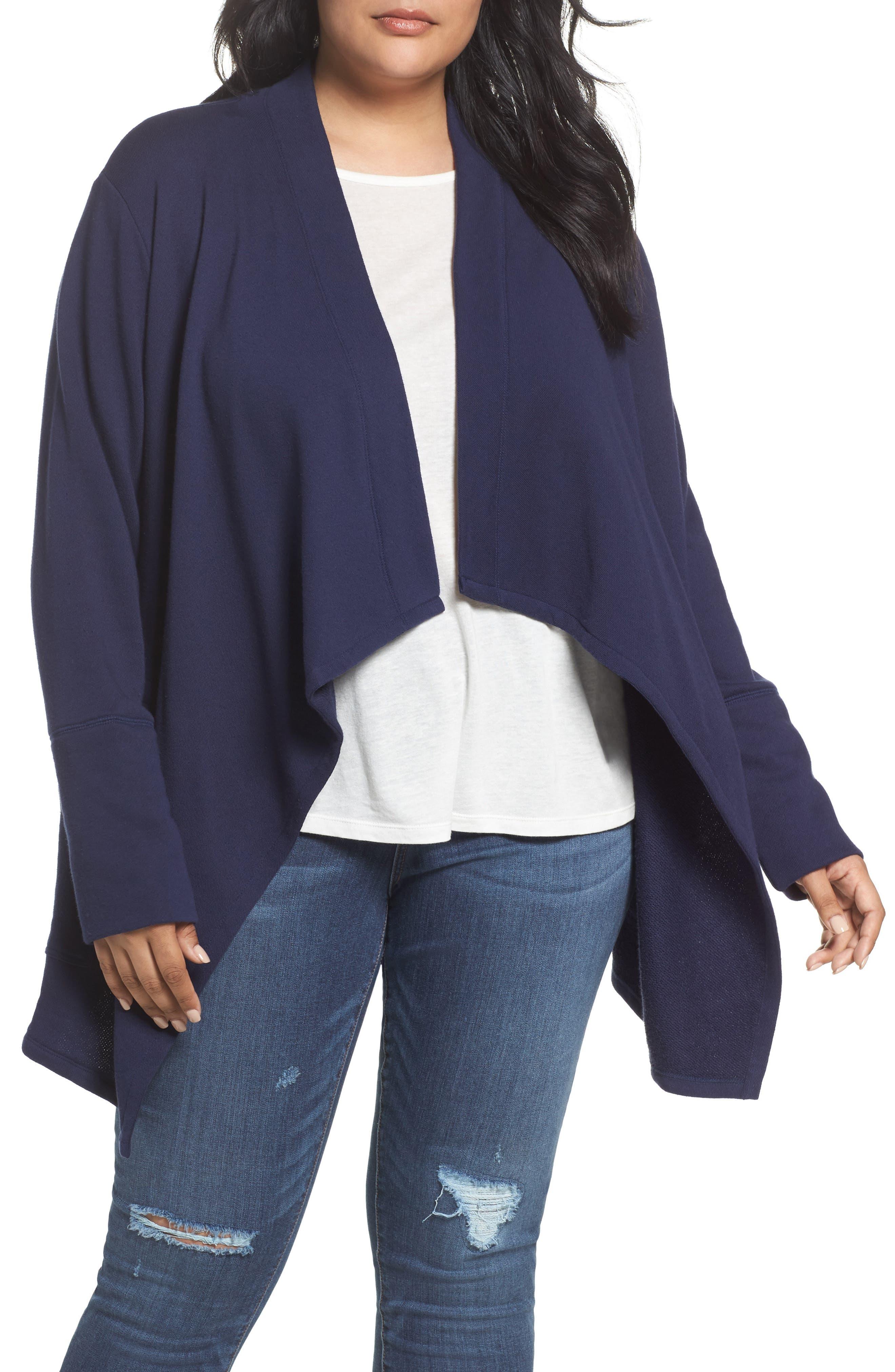 Caslon® Knit Drape Front Jacket (Plus Size)