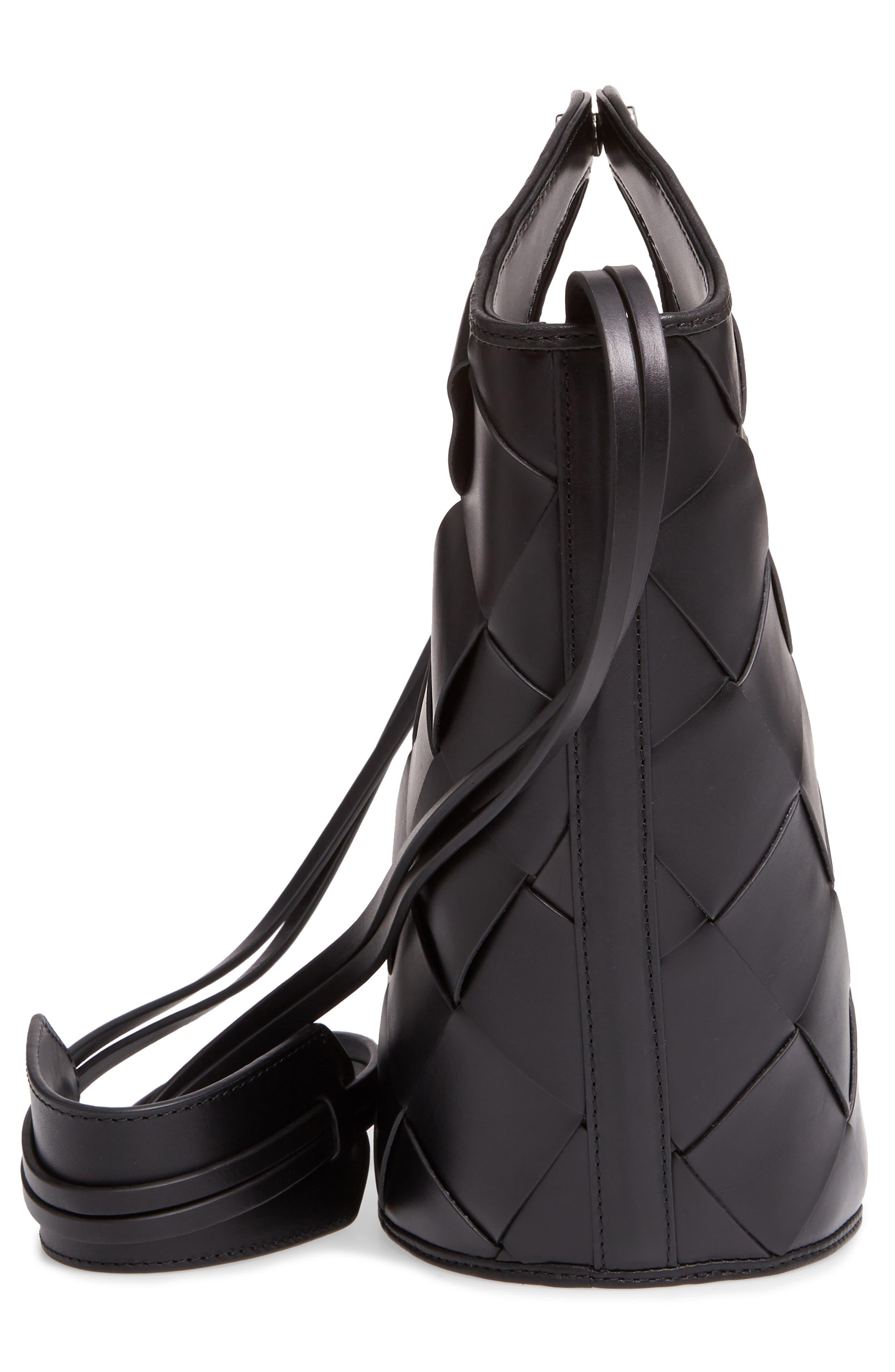 Small Market Woven Leather Crossbody Shopper,                             Alternate thumbnail 5, color,                             Black