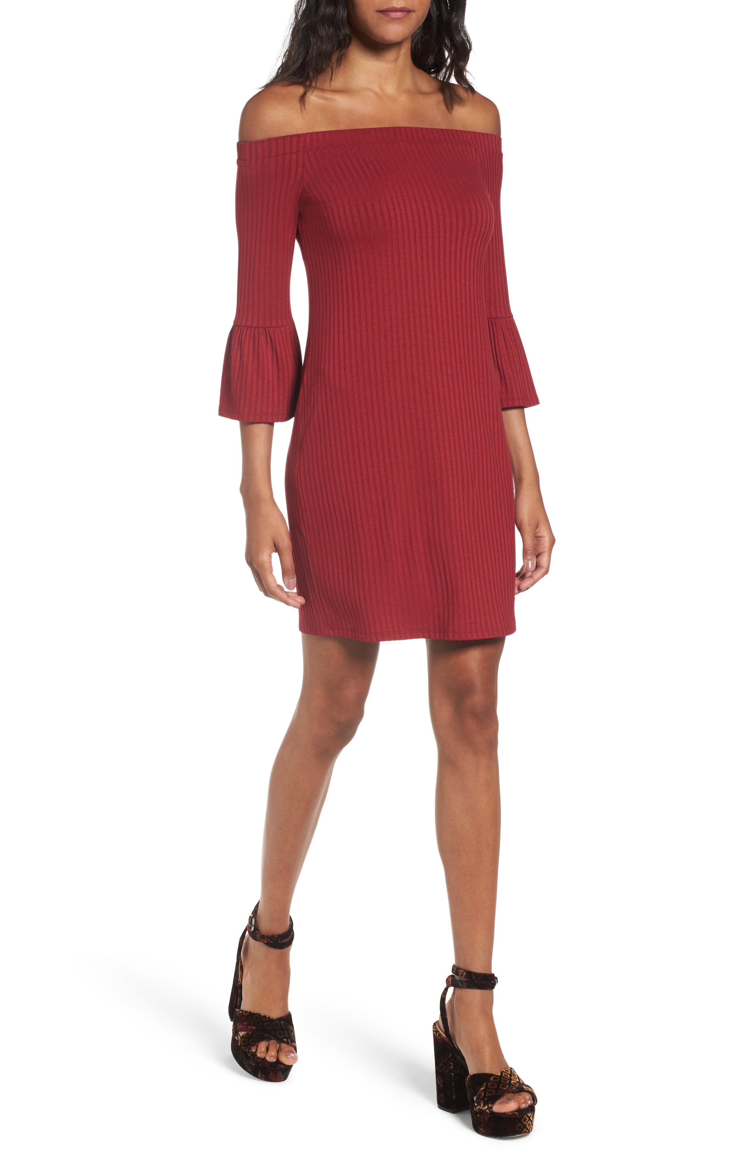 Main Image - One Clothing Off the Shoulder Rib Knit Dress