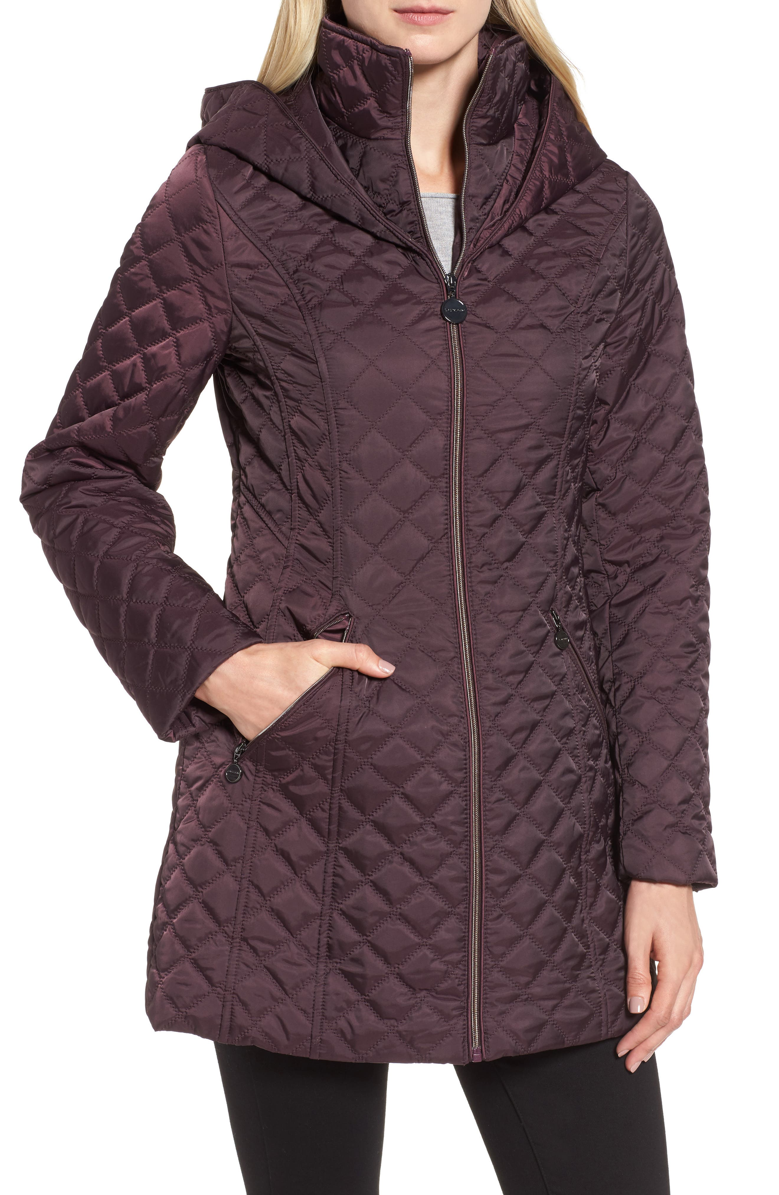 Hooded Quilted Jacket,                         Main,                         color, Claret