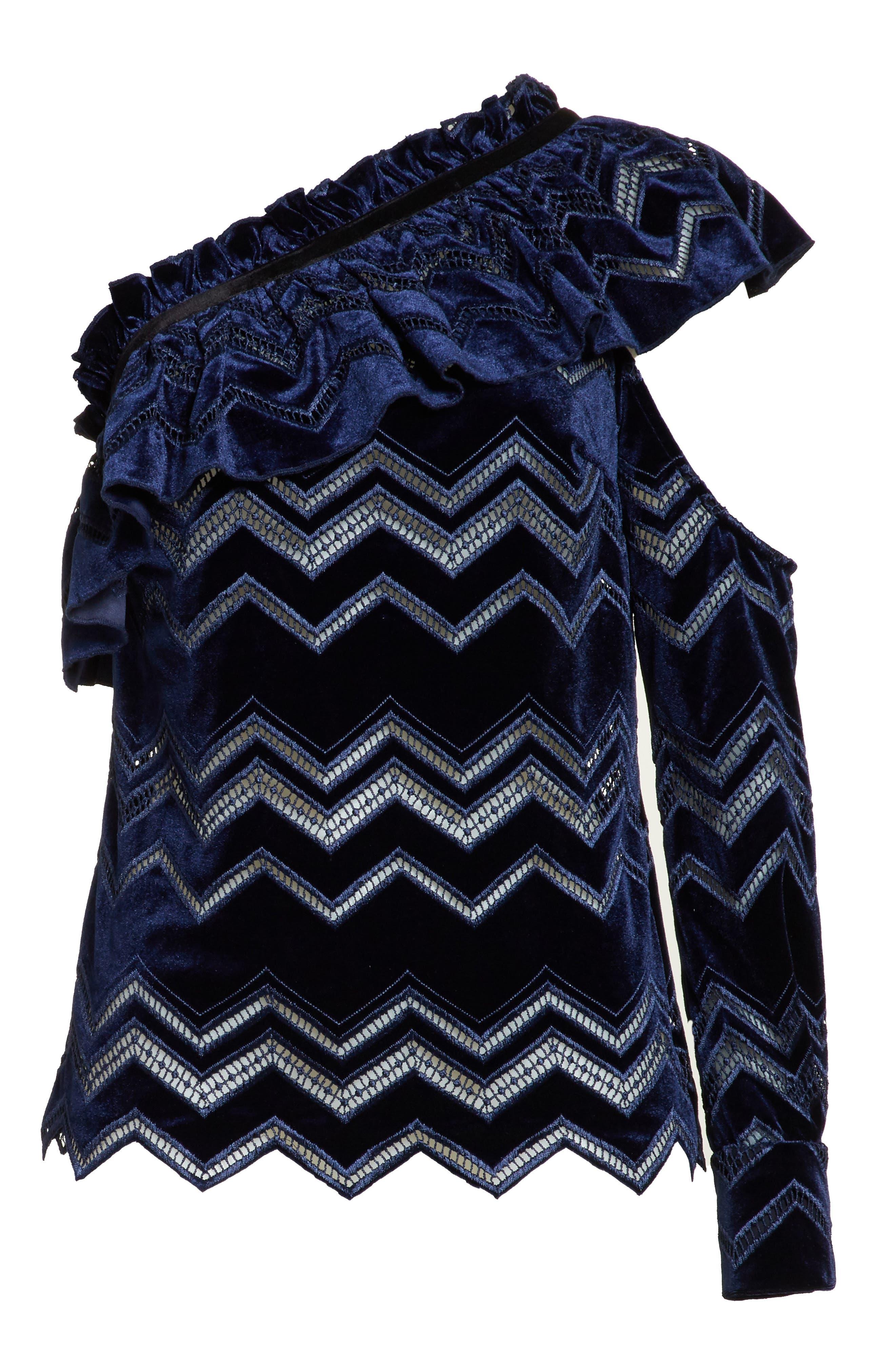 Zigzag Embroidered Velvet Top,                             Alternate thumbnail 6, color,                             Blue