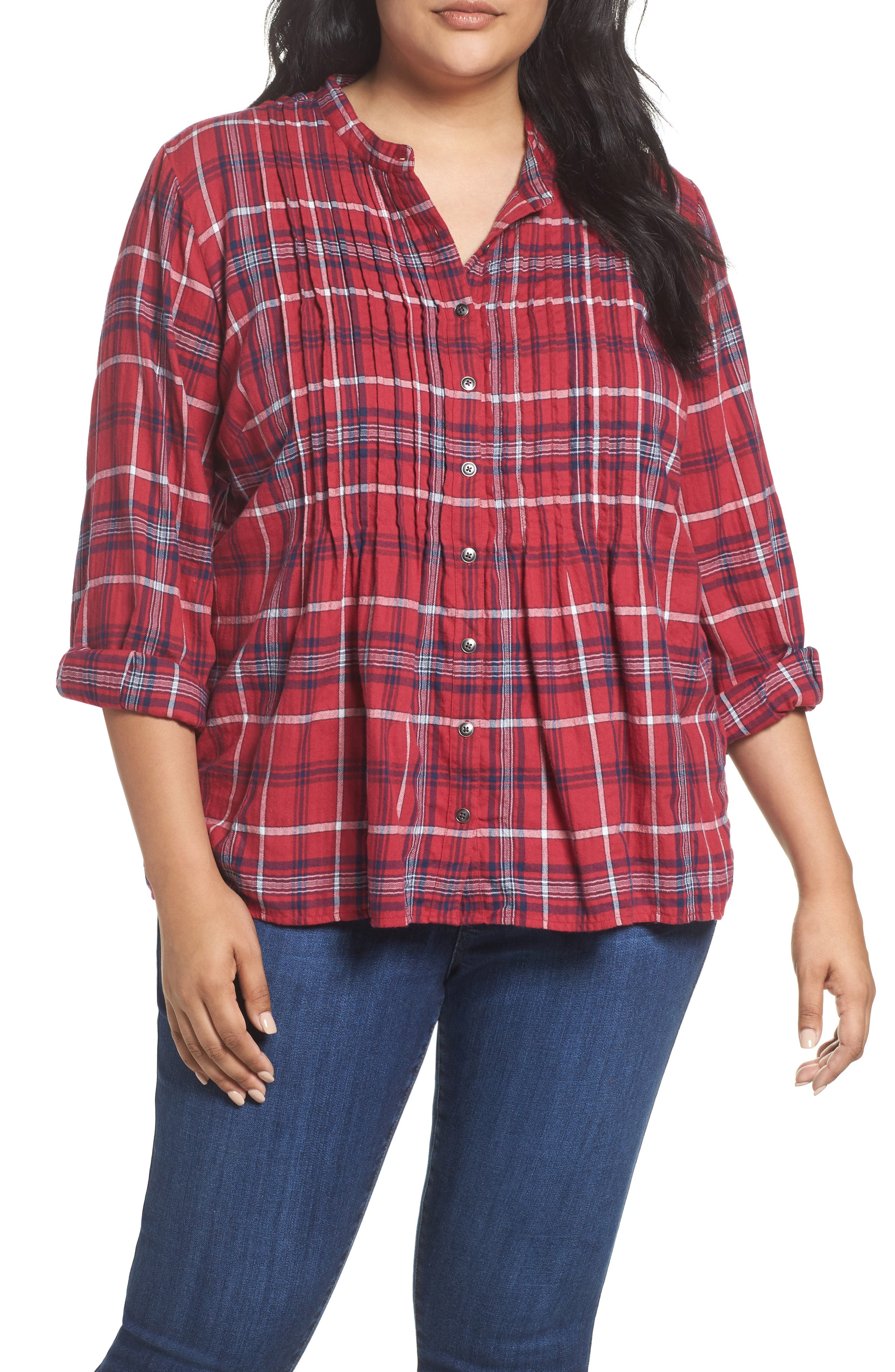 Pintuck Pleat Blouse,                         Main,                         color, Red- Ivory Plaid