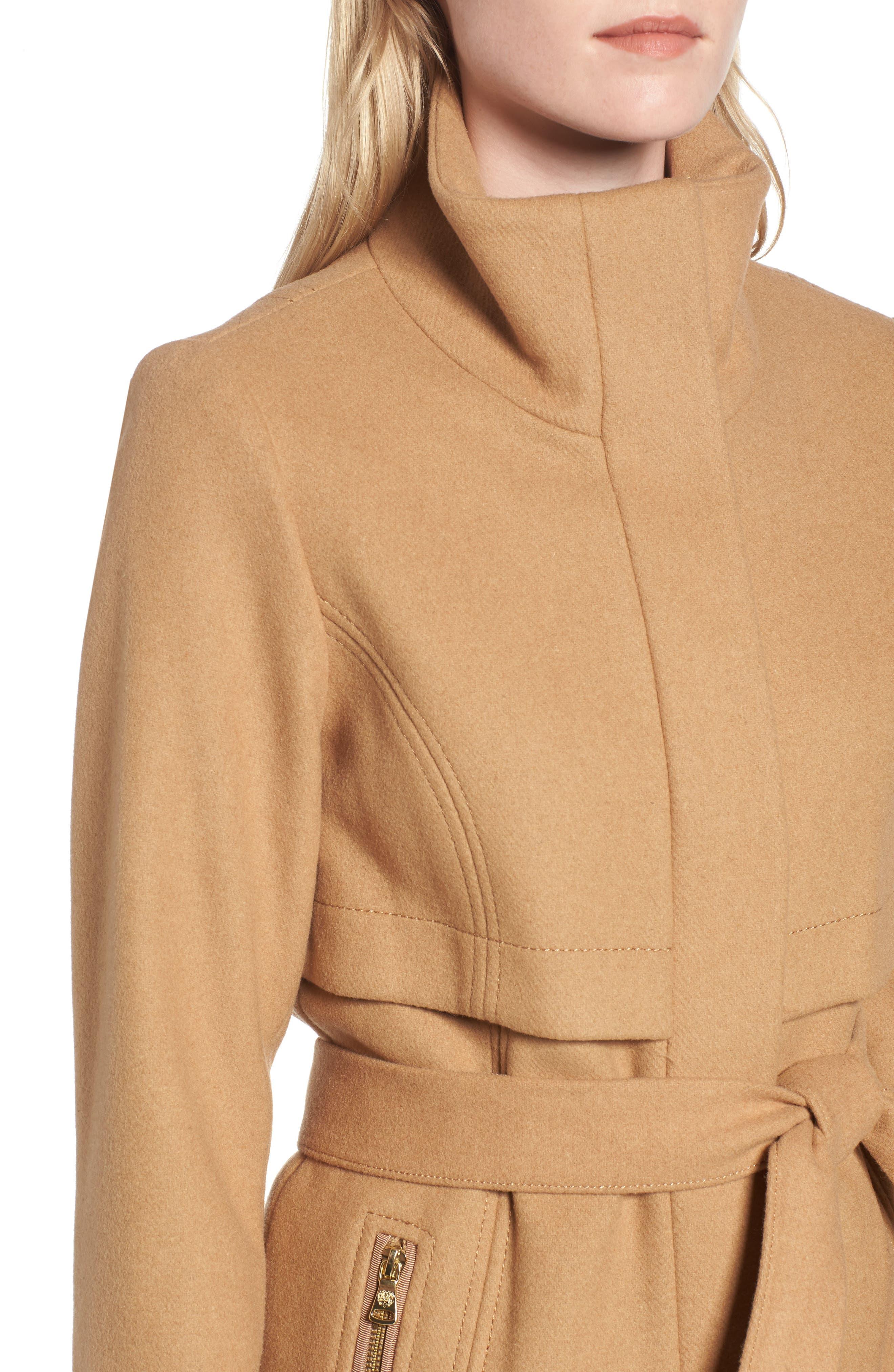 Flange Belted Coat,                             Alternate thumbnail 4, color,                             Camel