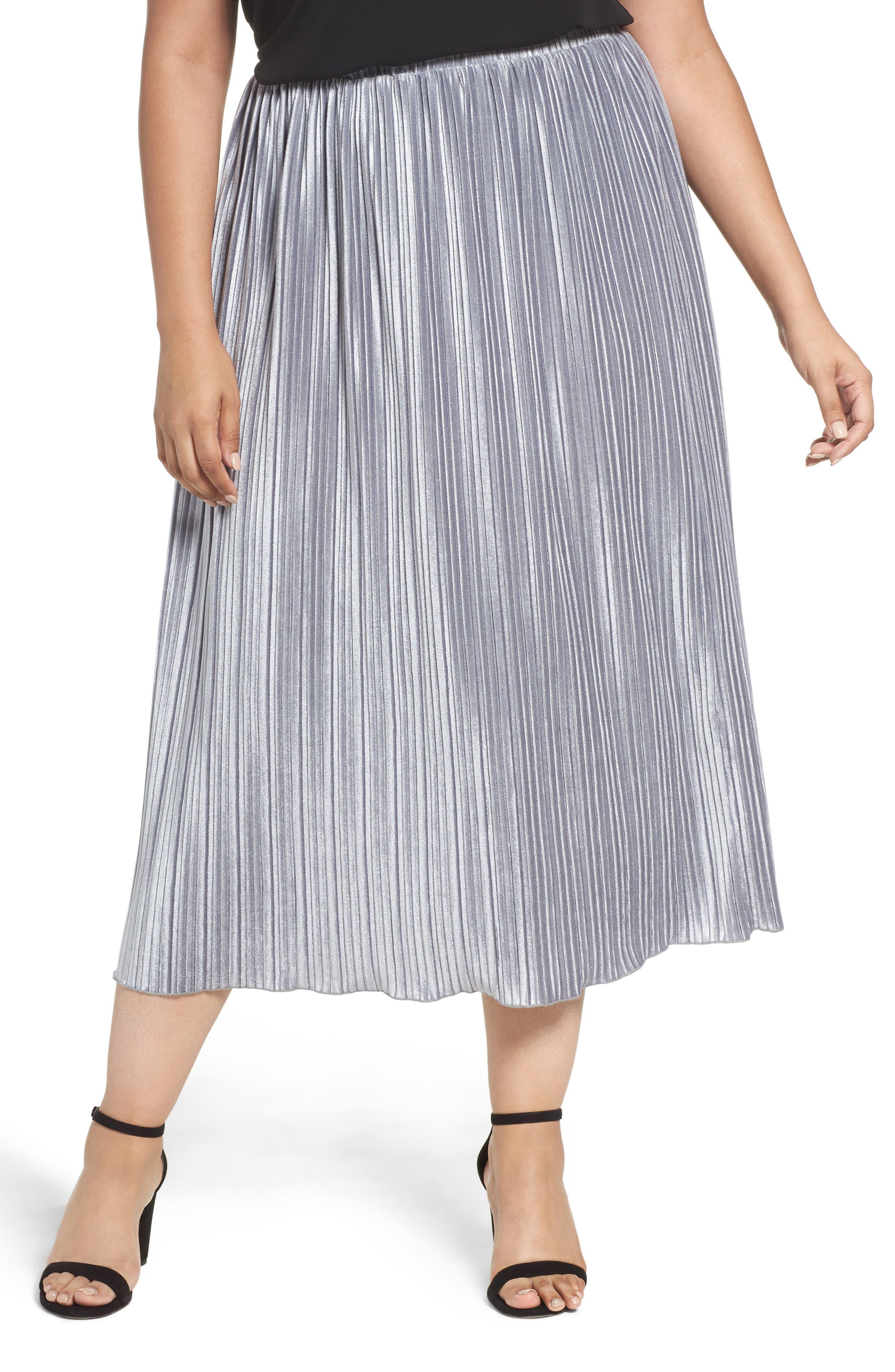 Pleat Velour Midi Skirt,                             Main thumbnail 1, color,                             Grey