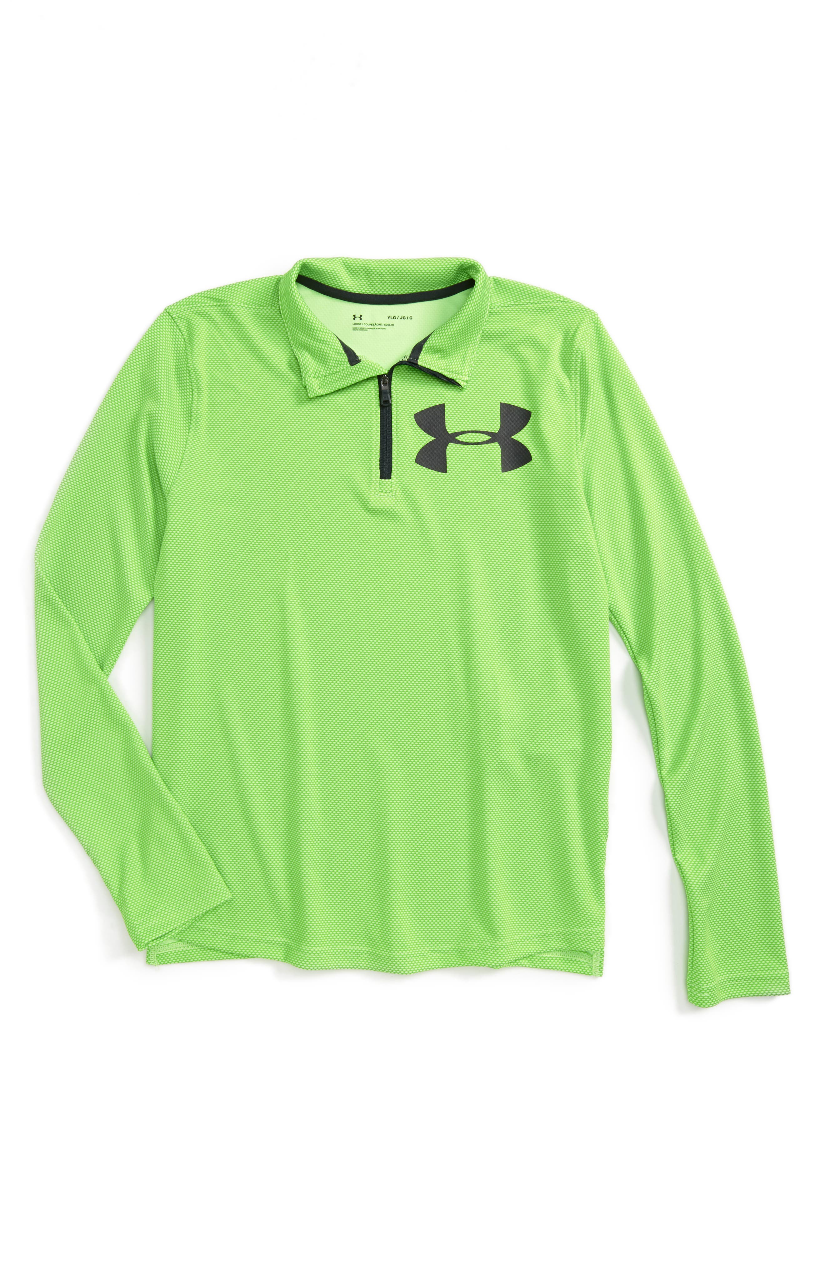 Textured Quarter Zip Top,                             Main thumbnail 1, color,                             Quirky Lime/ Anthracite