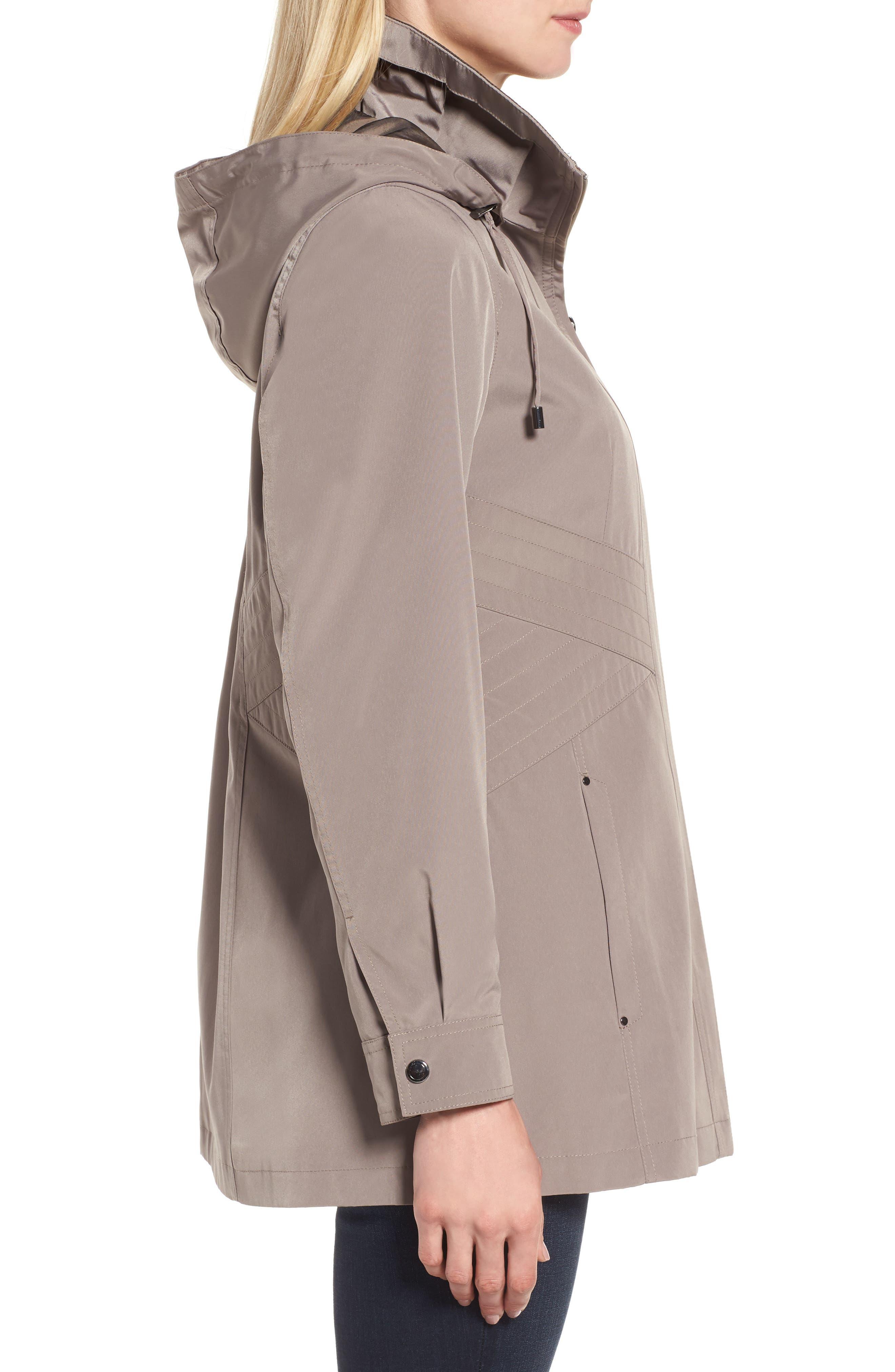 Alternate Image 3  - Gallery Two-Tone Long Silk Look Raincoat (Regular & Petite)